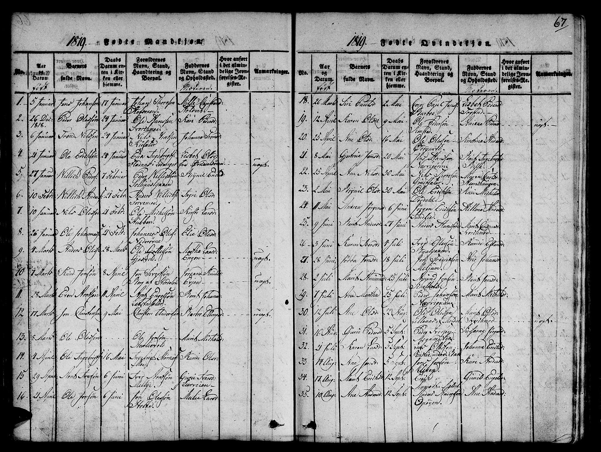 SAT, Ministerialprotokoller, klokkerbøker og fødselsregistre - Sør-Trøndelag, 668/L0803: Ministerialbok nr. 668A03, 1800-1826, s. 67