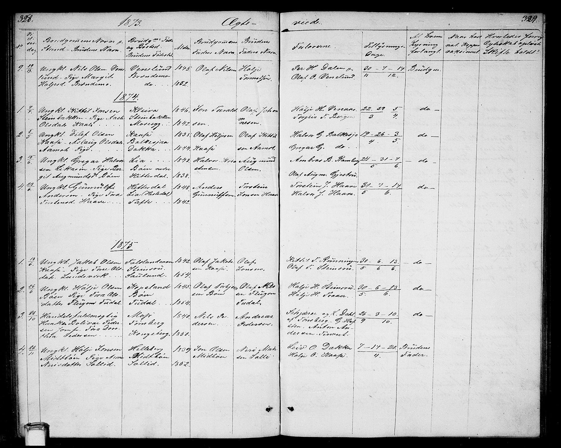 SAKO, Gransherad kirkebøker, G/Ga/L0002: Klokkerbok nr. I 2, 1854-1886, s. 328-329