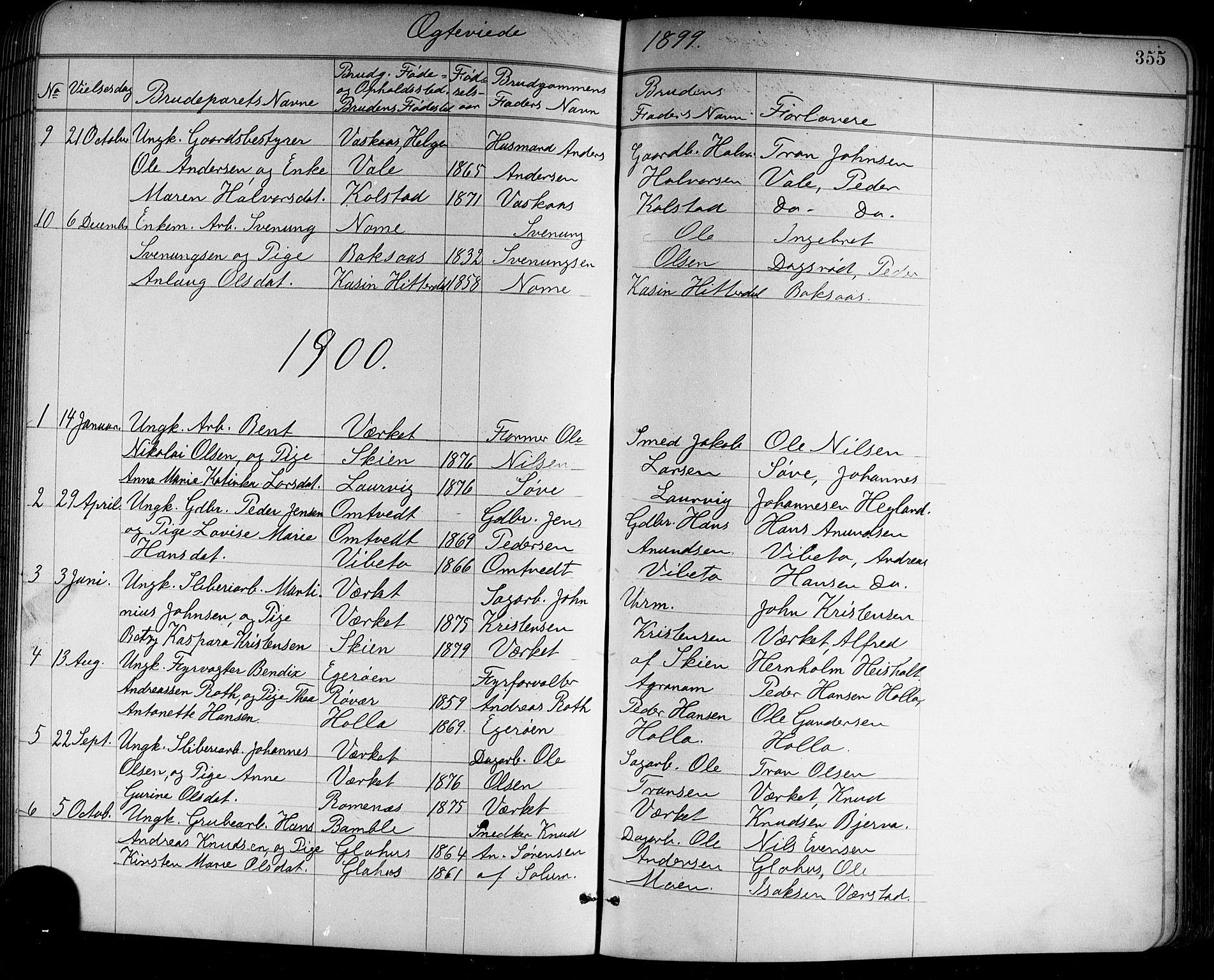 SAKO, Holla kirkebøker, G/Ga/L0005: Klokkerbok nr. I 5, 1891-1917, s. 355