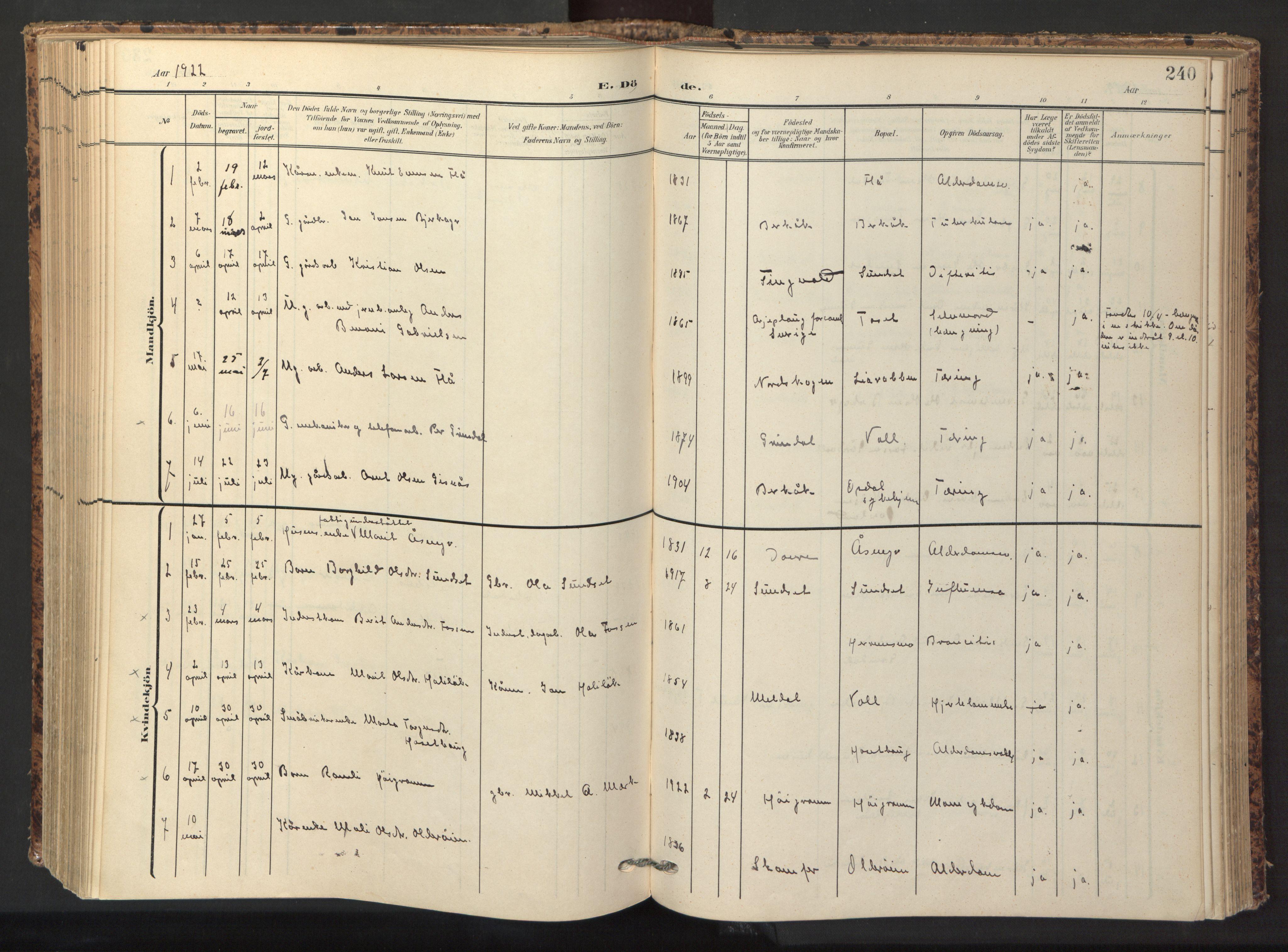 SAT, Ministerialprotokoller, klokkerbøker og fødselsregistre - Sør-Trøndelag, 674/L0873: Ministerialbok nr. 674A05, 1908-1923, s. 240