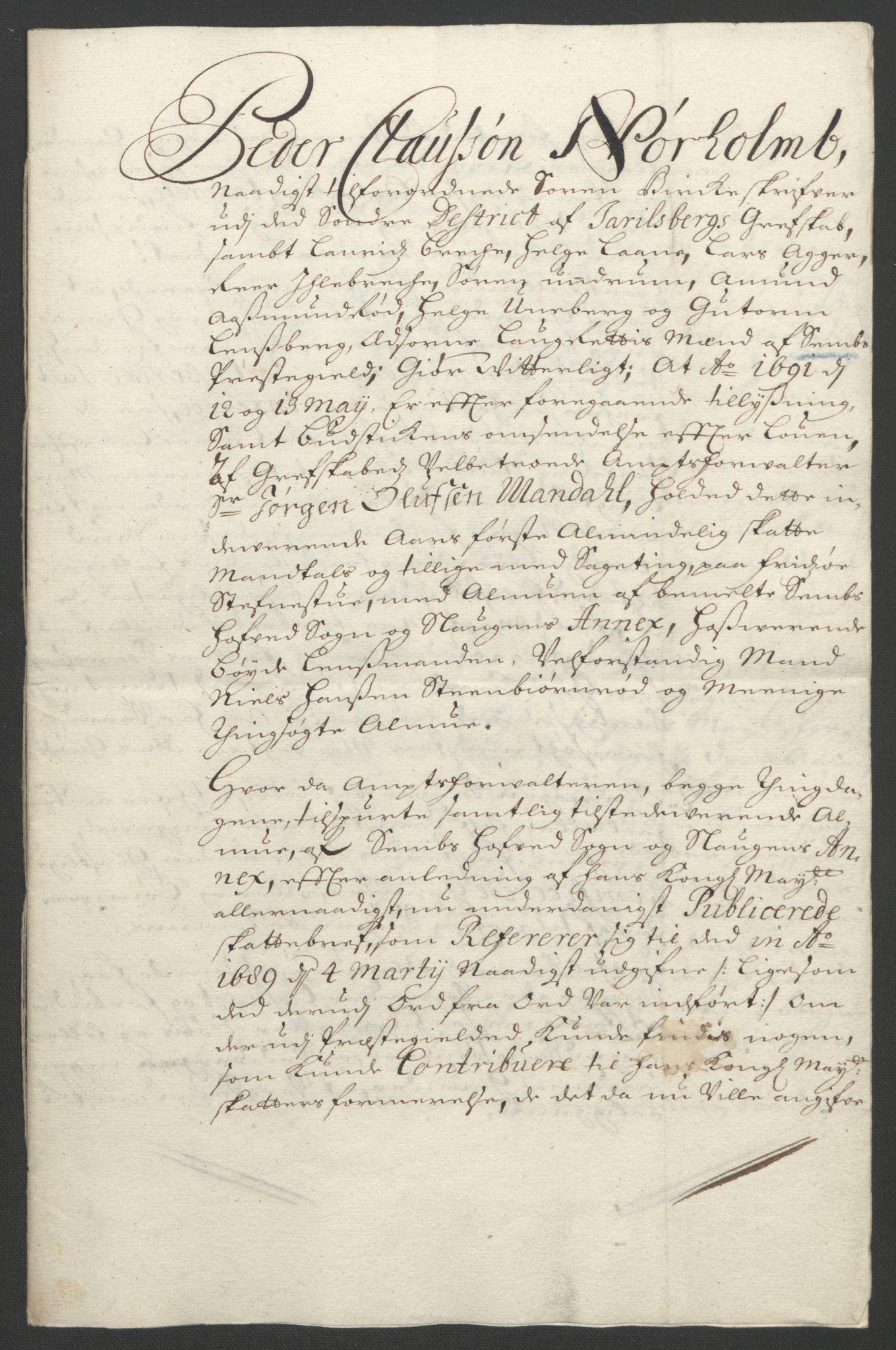 RA, Rentekammeret inntil 1814, Reviderte regnskaper, Fogderegnskap, R32/L1864: Fogderegnskap Jarlsberg grevskap, 1691, s. 412