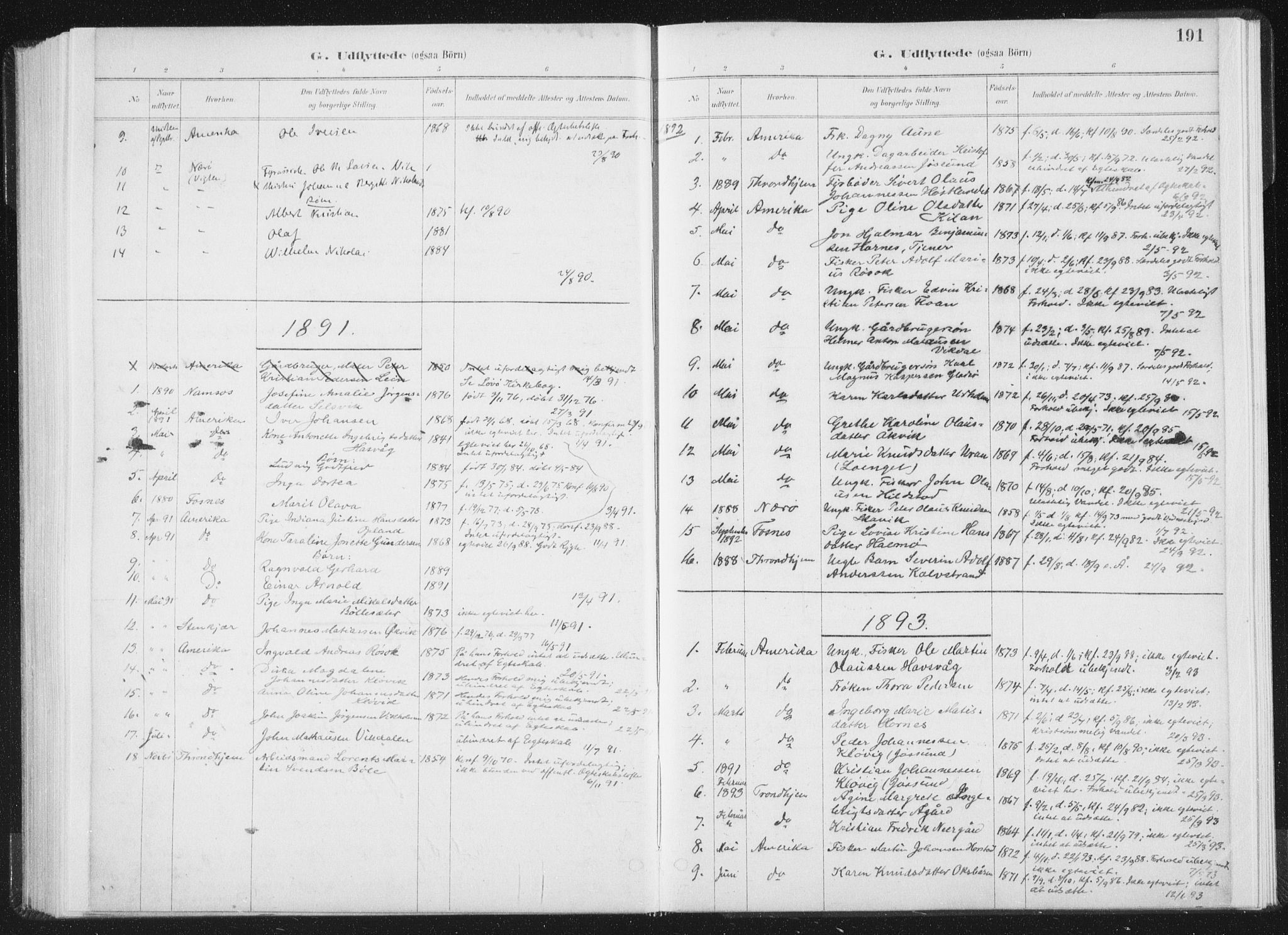 SAT, Ministerialprotokoller, klokkerbøker og fødselsregistre - Nord-Trøndelag, 771/L0597: Ministerialbok nr. 771A04, 1885-1910, s. 191