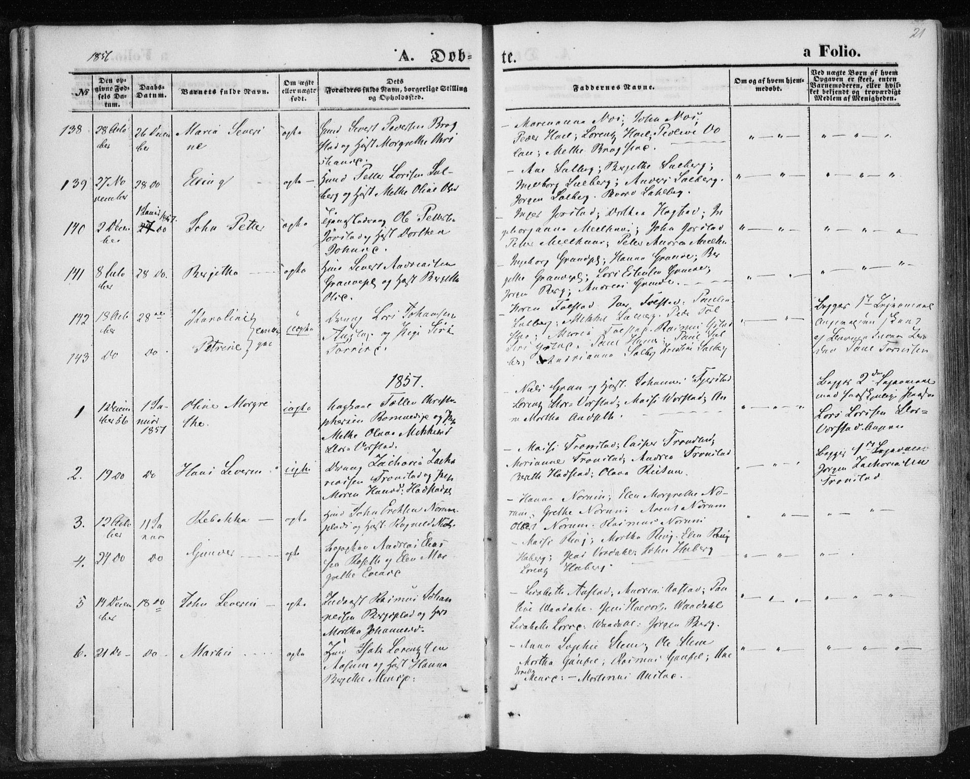 SAT, Ministerialprotokoller, klokkerbøker og fødselsregistre - Nord-Trøndelag, 730/L0283: Ministerialbok nr. 730A08, 1855-1865, s. 21