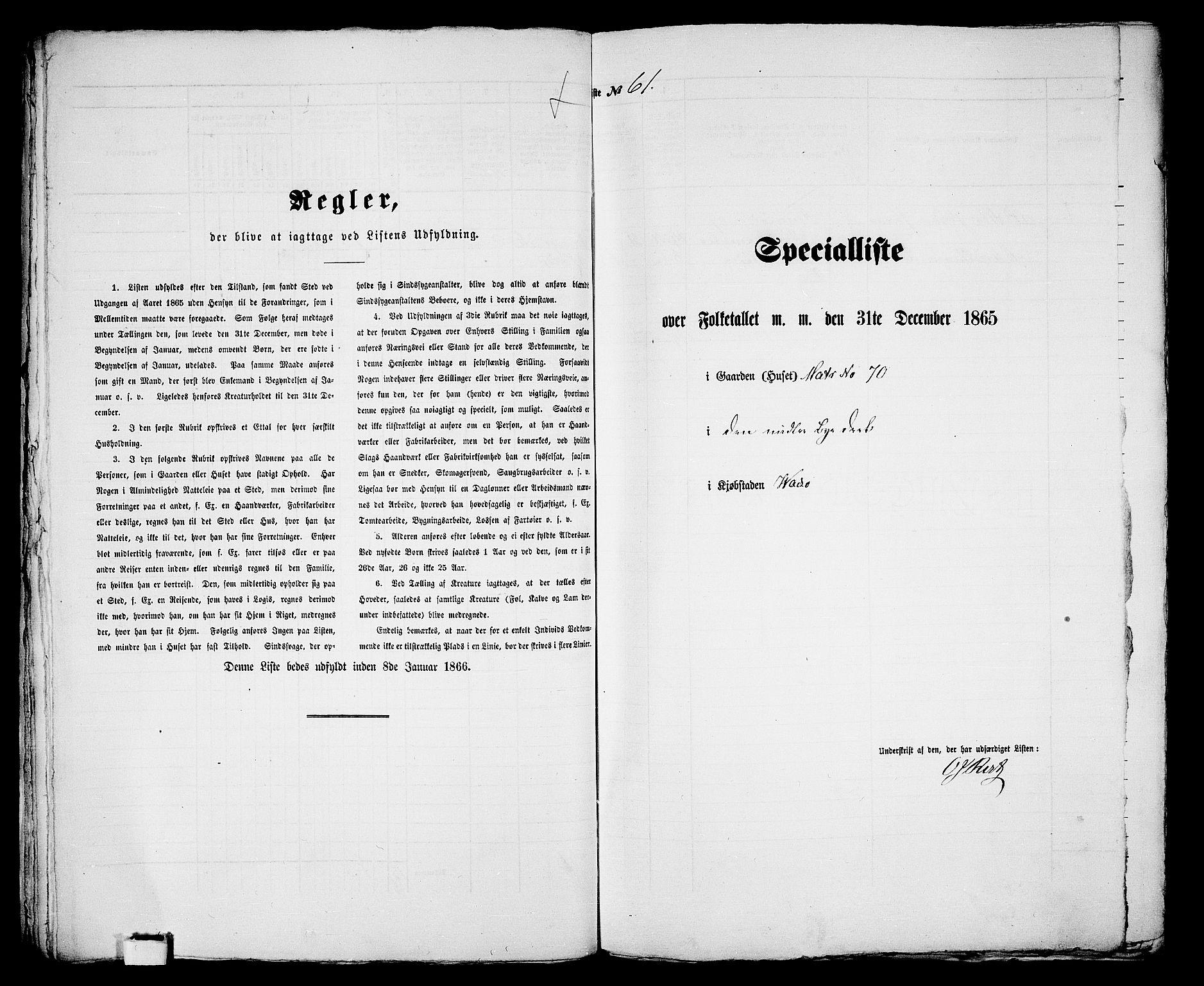 RA, Folketelling 1865 for 2003B Vadsø prestegjeld, Vadsø kjøpstad, 1865, s. 127
