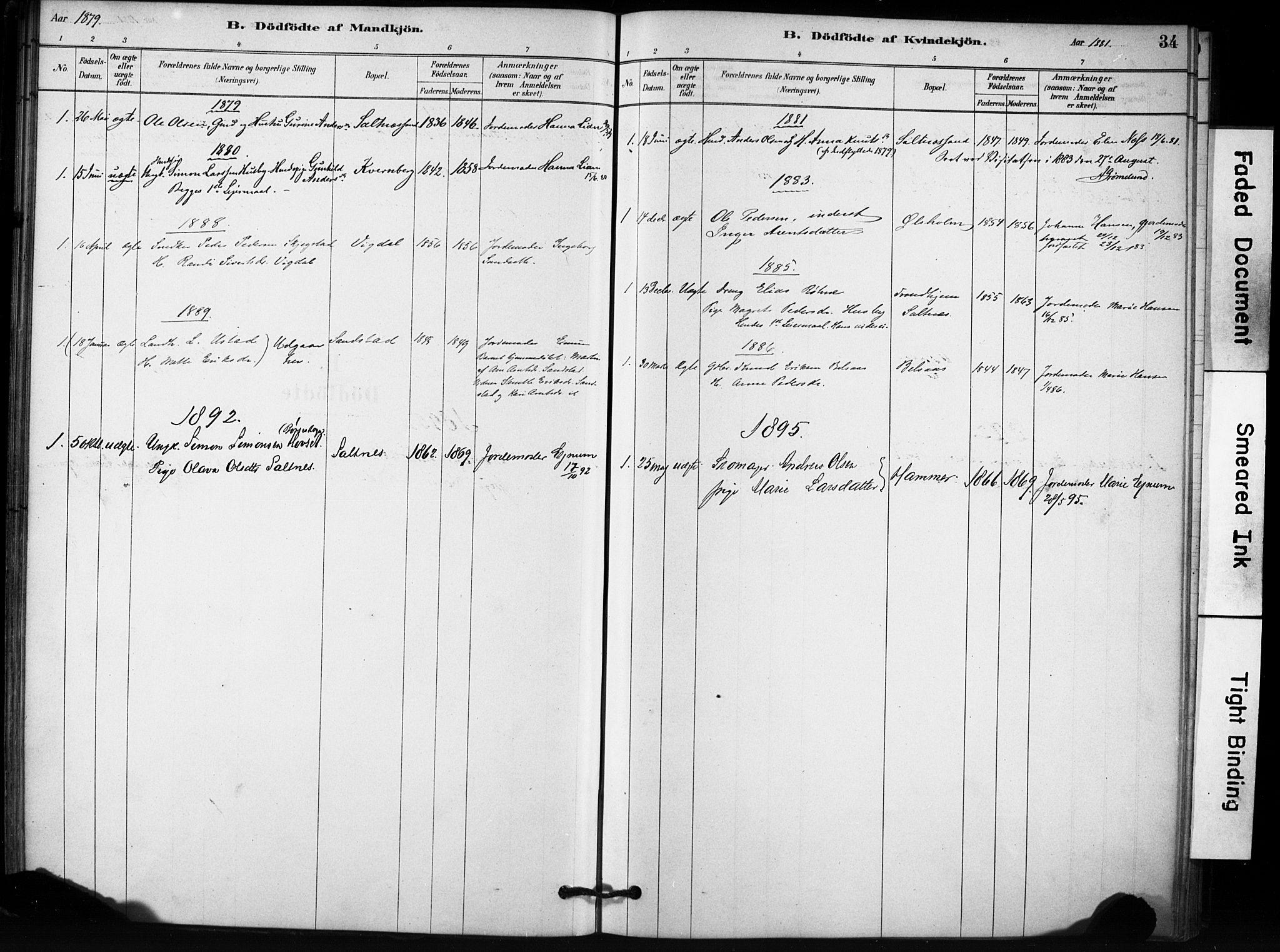 SAT, Ministerialprotokoller, klokkerbøker og fødselsregistre - Sør-Trøndelag, 666/L0786: Ministerialbok nr. 666A04, 1878-1895, s. 34