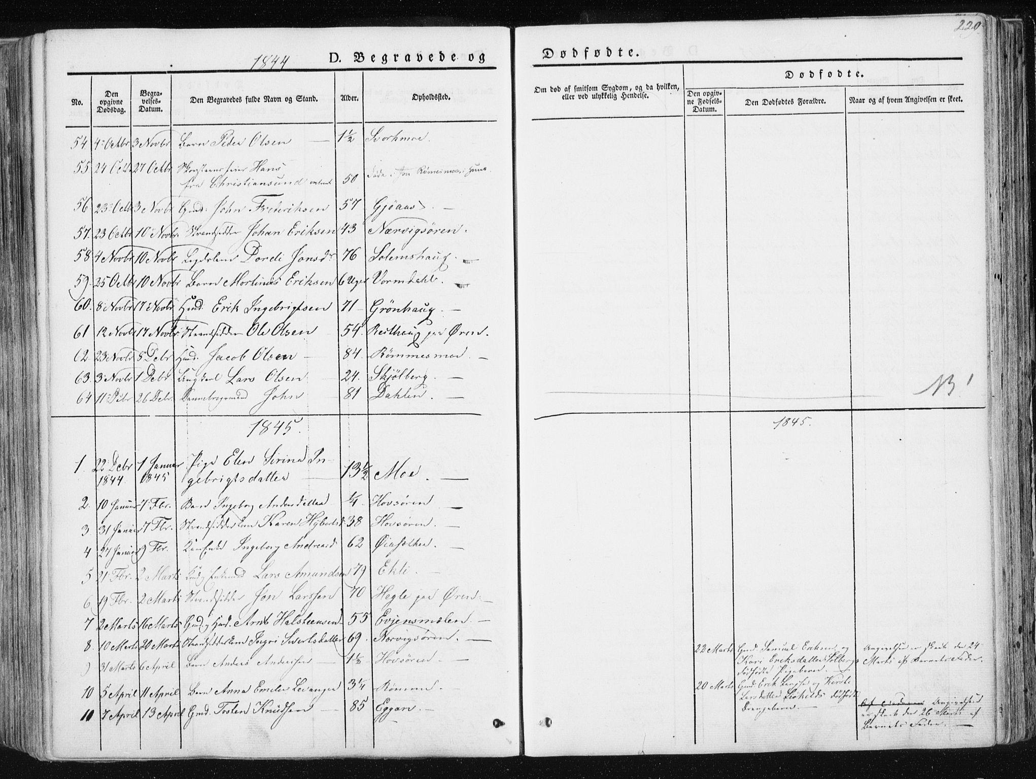 SAT, Ministerialprotokoller, klokkerbøker og fødselsregistre - Sør-Trøndelag, 668/L0805: Ministerialbok nr. 668A05, 1840-1853, s. 229