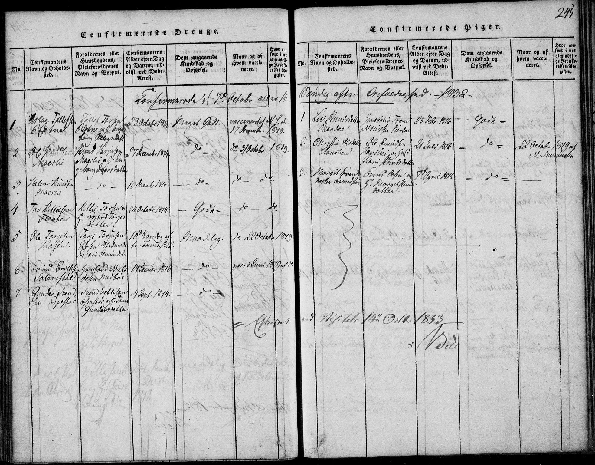 SAKO, Vinje kirkebøker, F/Fb/L0001: Ministerialbok nr. II 1, 1814-1843, s. 245