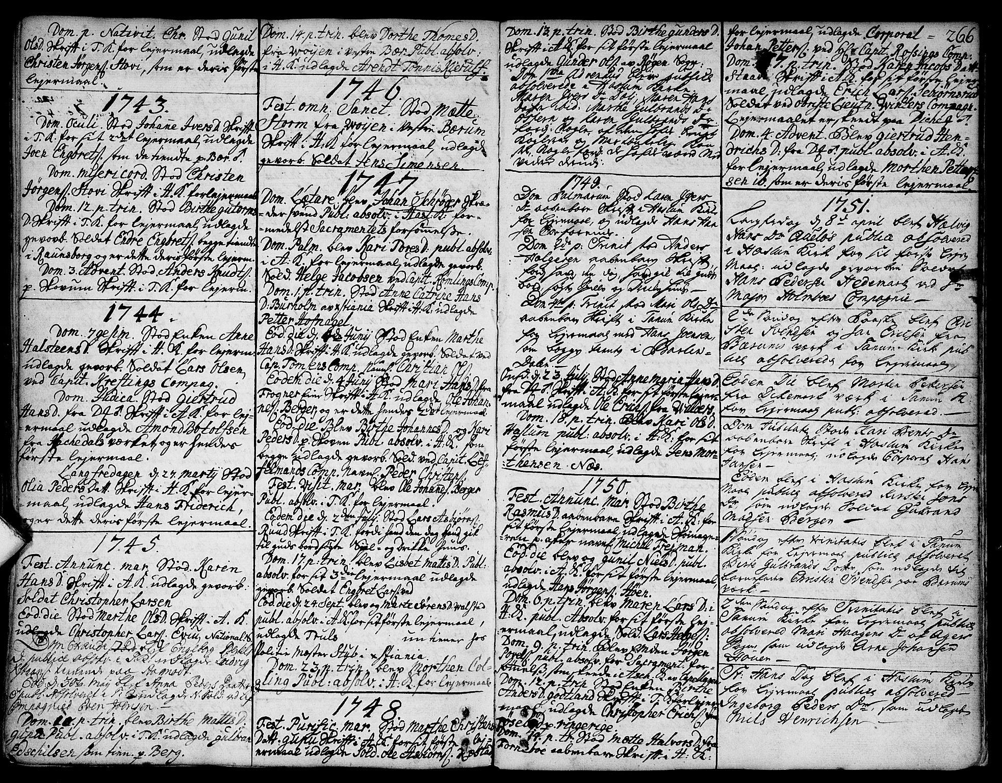SAO, Asker prestekontor Kirkebøker, F/Fa/L0002: Ministerialbok nr. I 2, 1733-1766, s. 266
