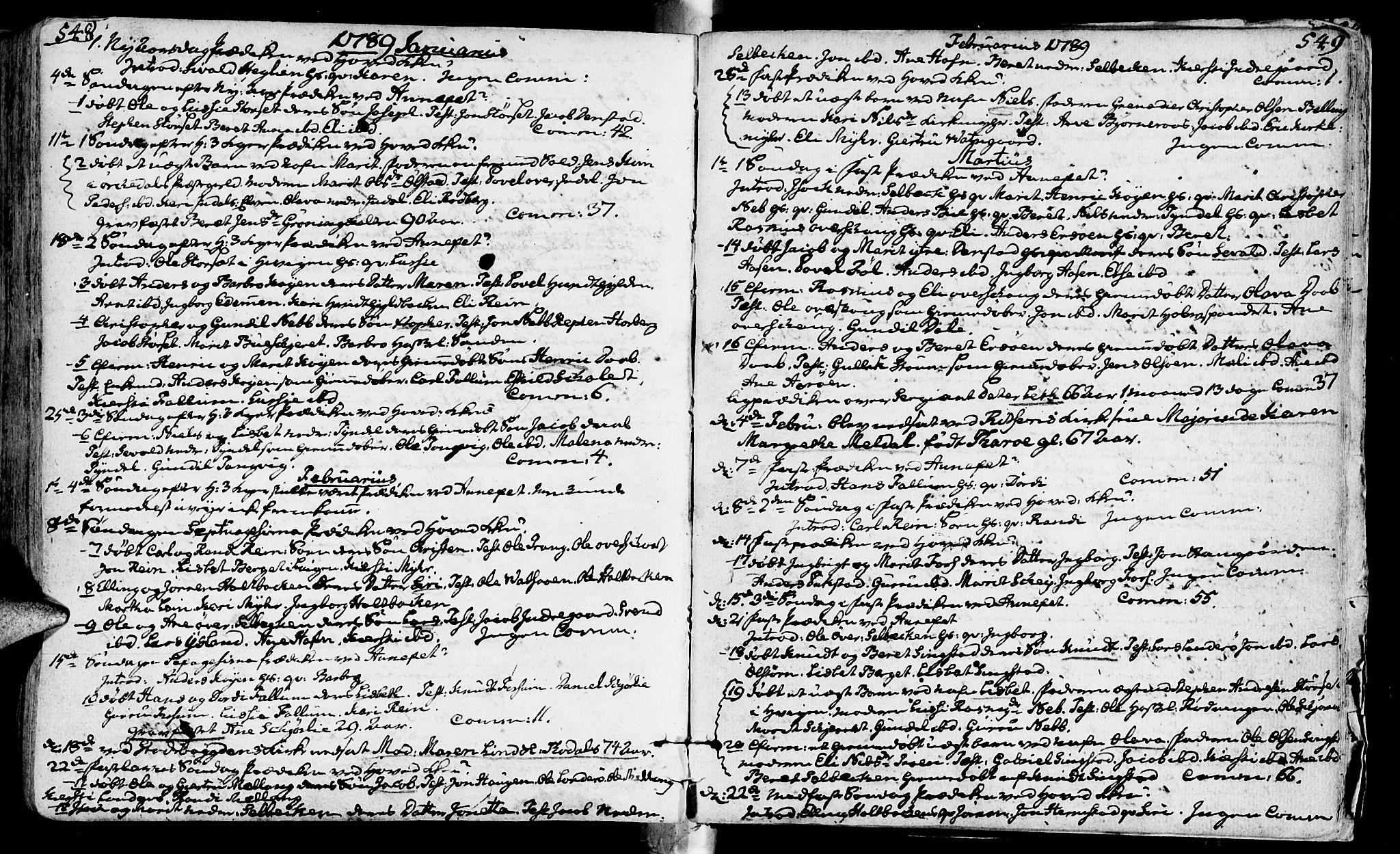 SAT, Ministerialprotokoller, klokkerbøker og fødselsregistre - Sør-Trøndelag, 646/L0605: Ministerialbok nr. 646A03, 1751-1790, s. 548-549