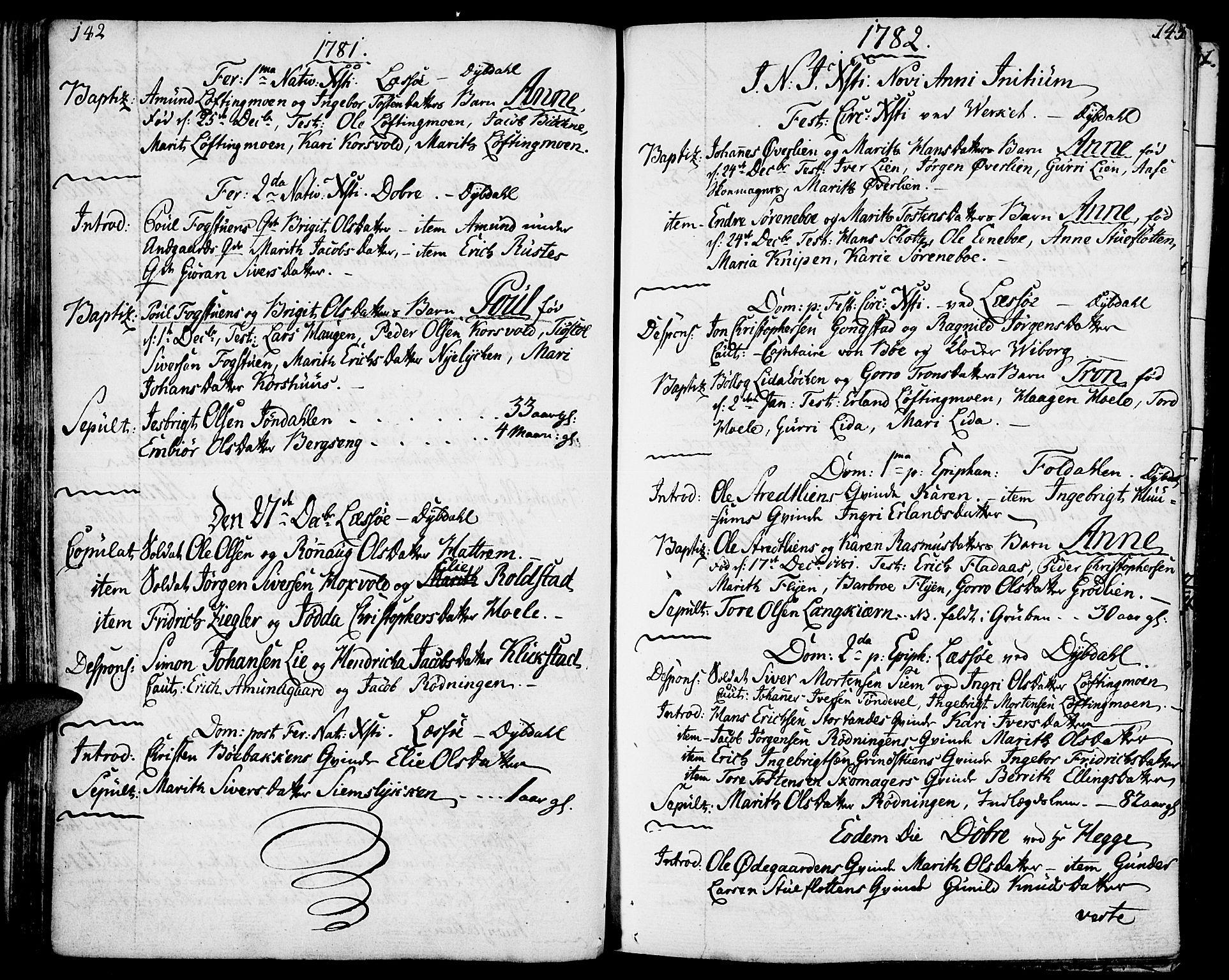 SAH, Lesja prestekontor, Ministerialbok nr. 3, 1777-1819, s. 142-143