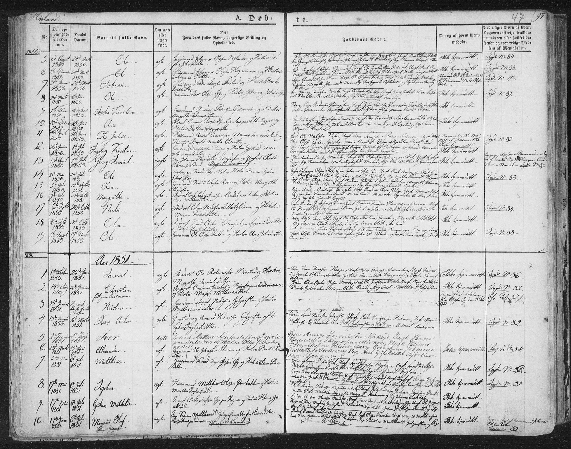 SAT, Ministerialprotokoller, klokkerbøker og fødselsregistre - Nord-Trøndelag, 758/L0513: Ministerialbok nr. 758A02 /2, 1839-1868, s. 47