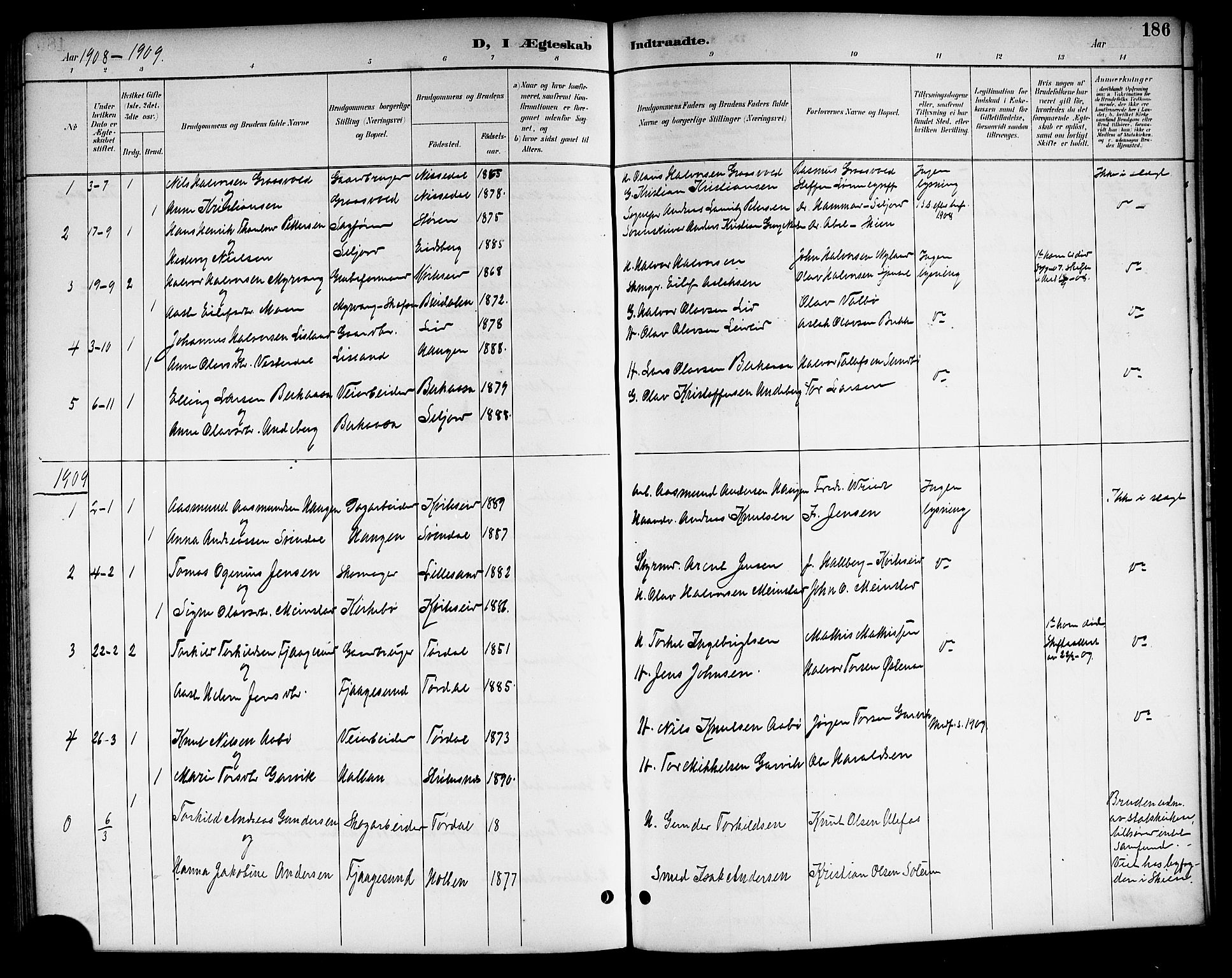 SAKO, Kviteseid kirkebøker, G/Ga/L0002: Klokkerbok nr. I 2, 1893-1918, s. 186