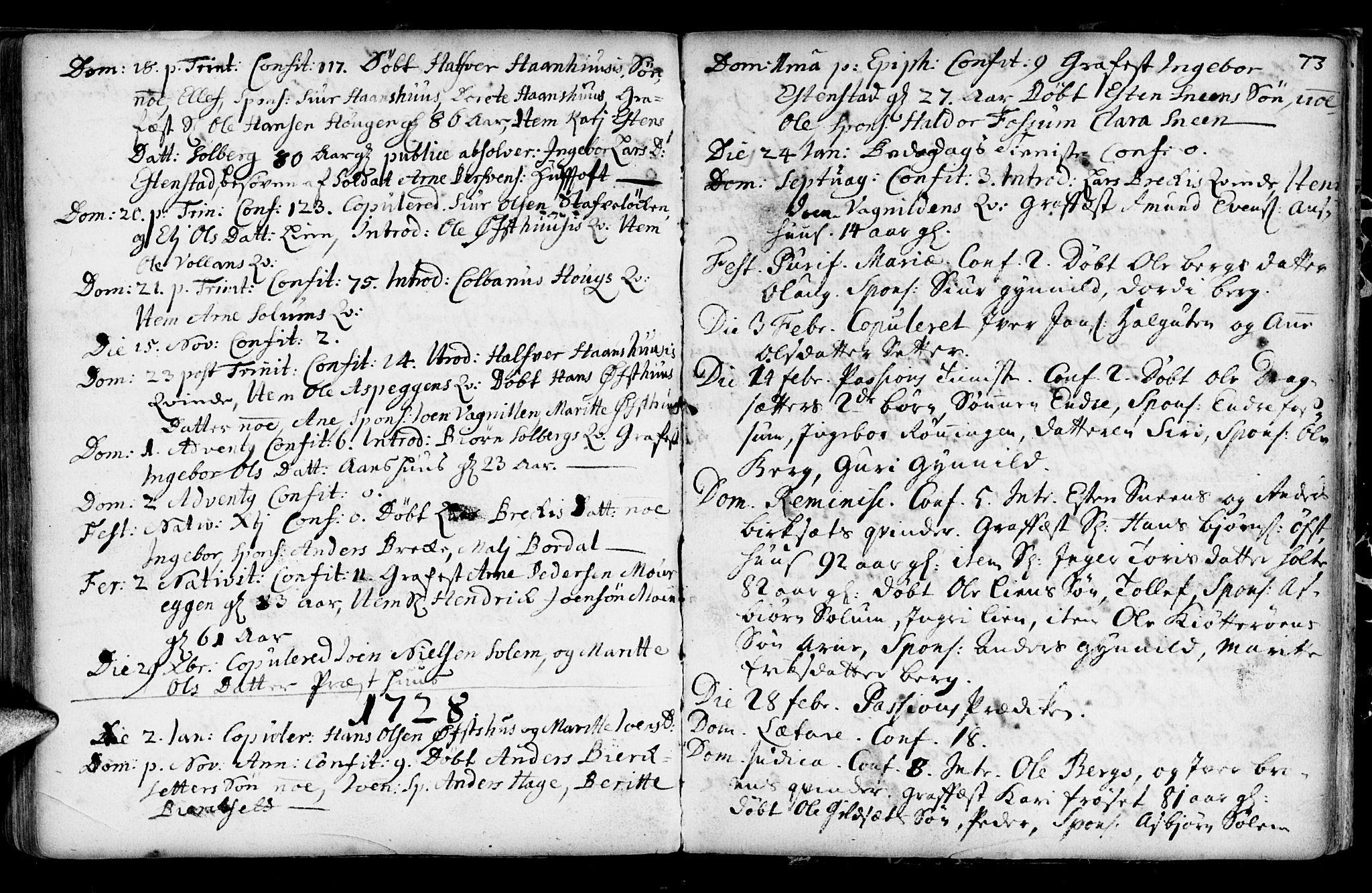 SAT, Ministerialprotokoller, klokkerbøker og fødselsregistre - Sør-Trøndelag, 689/L1036: Ministerialbok nr. 689A01, 1696-1746, s. 73