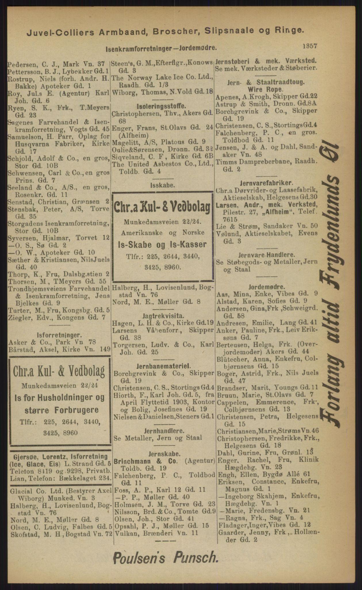 RA, Kristiania adressebok (publikasjon)*, 1903, s. 1357