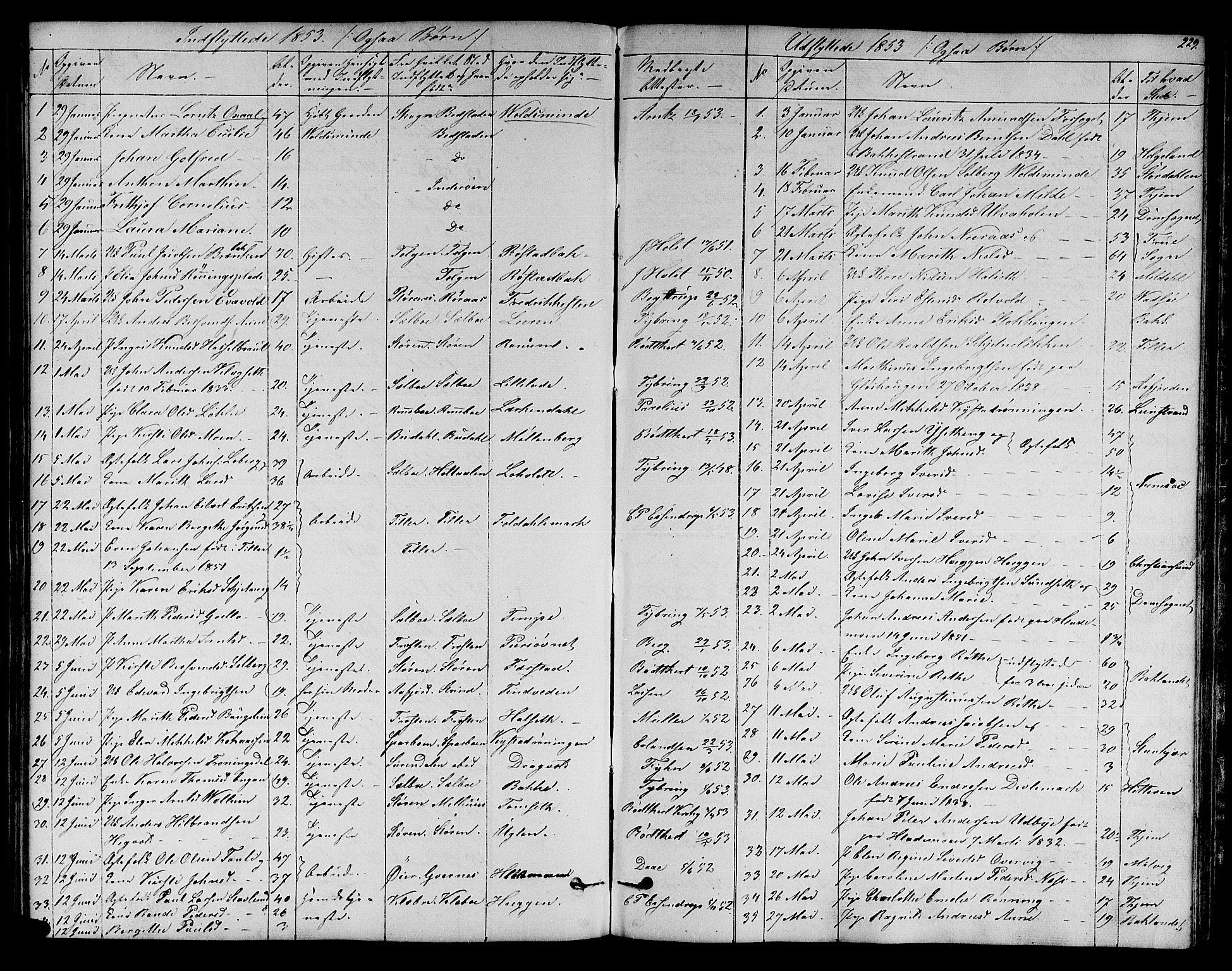 SAT, Ministerialprotokoller, klokkerbøker og fødselsregistre - Sør-Trøndelag, 606/L0310: Klokkerbok nr. 606C06, 1850-1859, s. 229