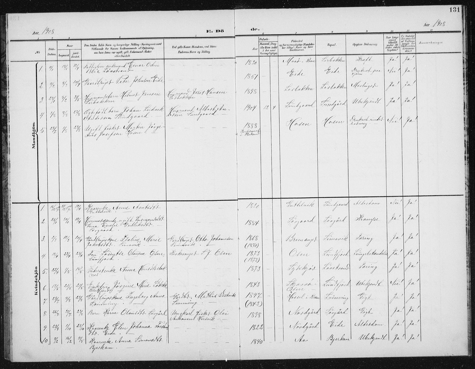 SAT, Ministerialprotokoller, klokkerbøker og fødselsregistre - Sør-Trøndelag, 656/L0699: Klokkerbok nr. 656C05, 1905-1920, s. 131