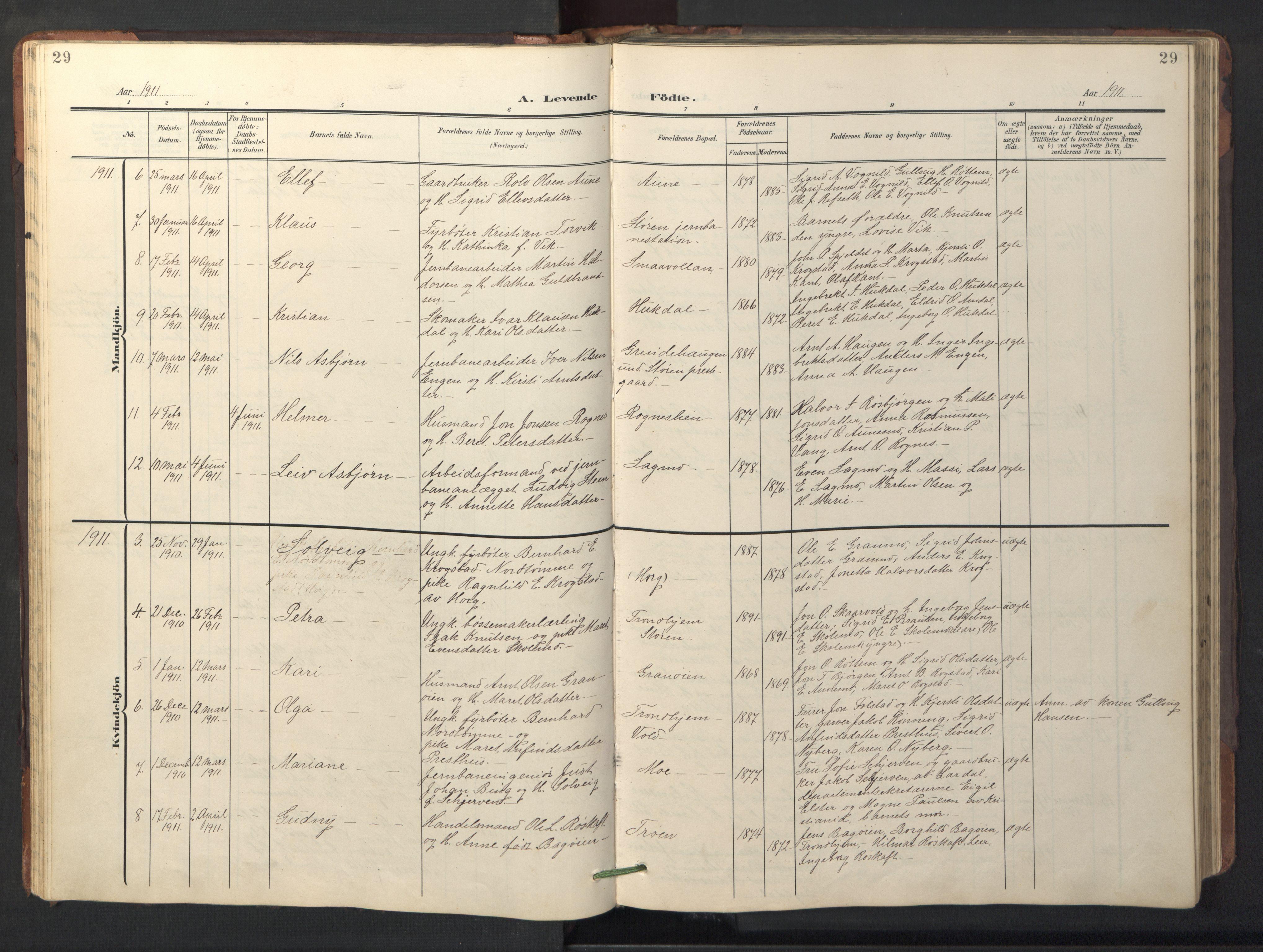 SAT, Ministerialprotokoller, klokkerbøker og fødselsregistre - Sør-Trøndelag, 687/L1019: Klokkerbok nr. 687C03, 1904-1931, s. 29