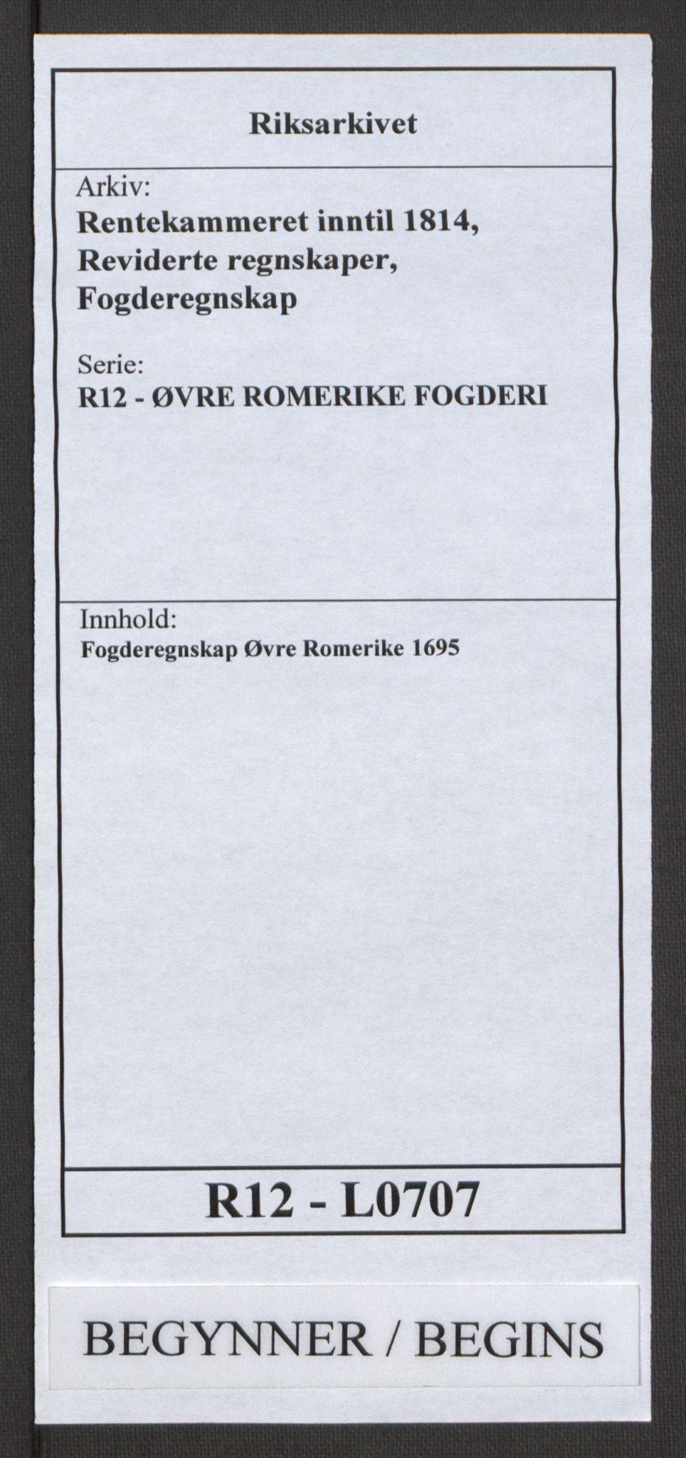 RA, Rentekammeret inntil 1814, Reviderte regnskaper, Fogderegnskap, R12/L0707: Fogderegnskap Øvre Romerike, 1695, s. 1