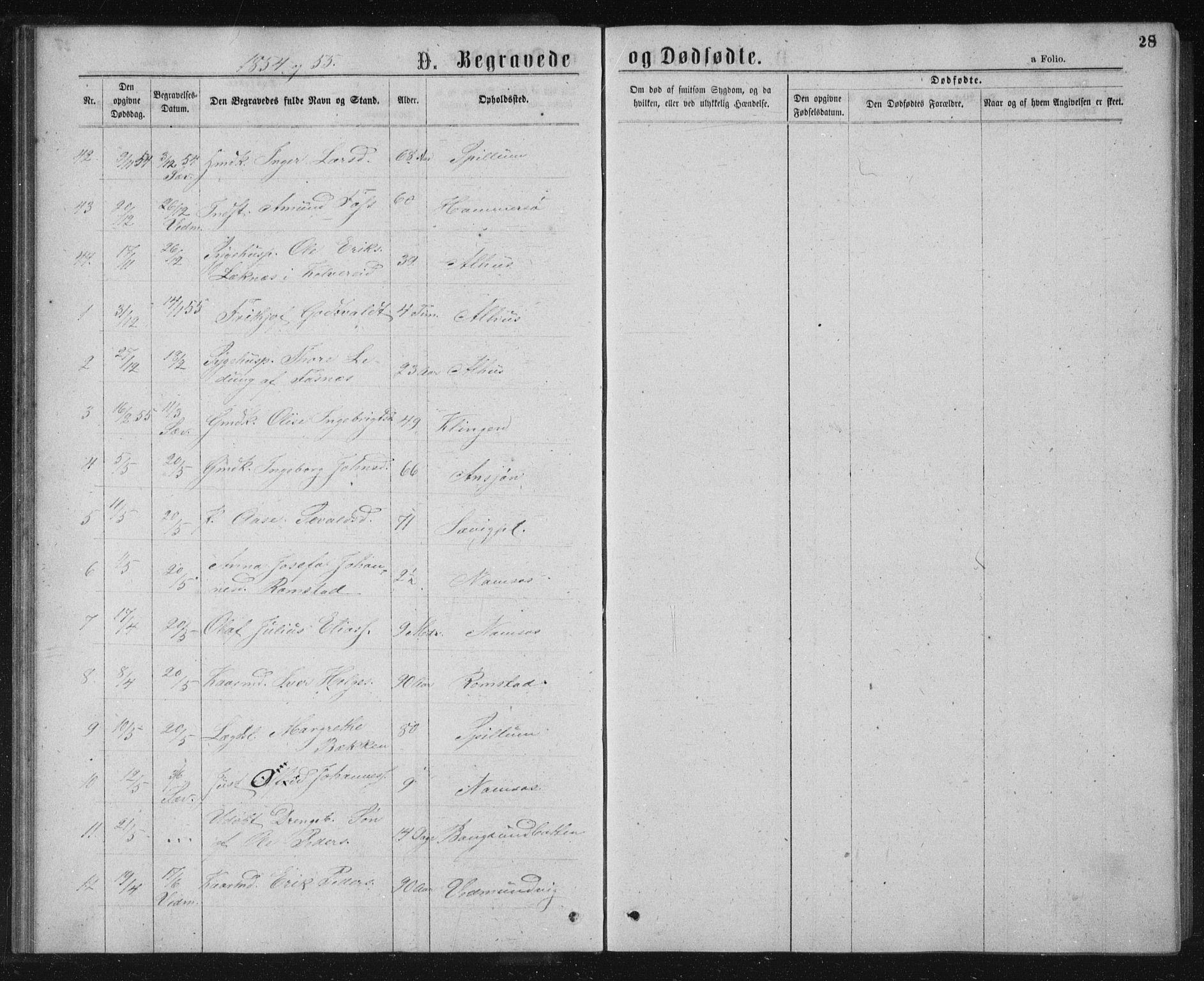 SAT, Ministerialprotokoller, klokkerbøker og fødselsregistre - Nord-Trøndelag, 768/L0569: Ministerialbok nr. 768A04, 1836-1865, s. 28