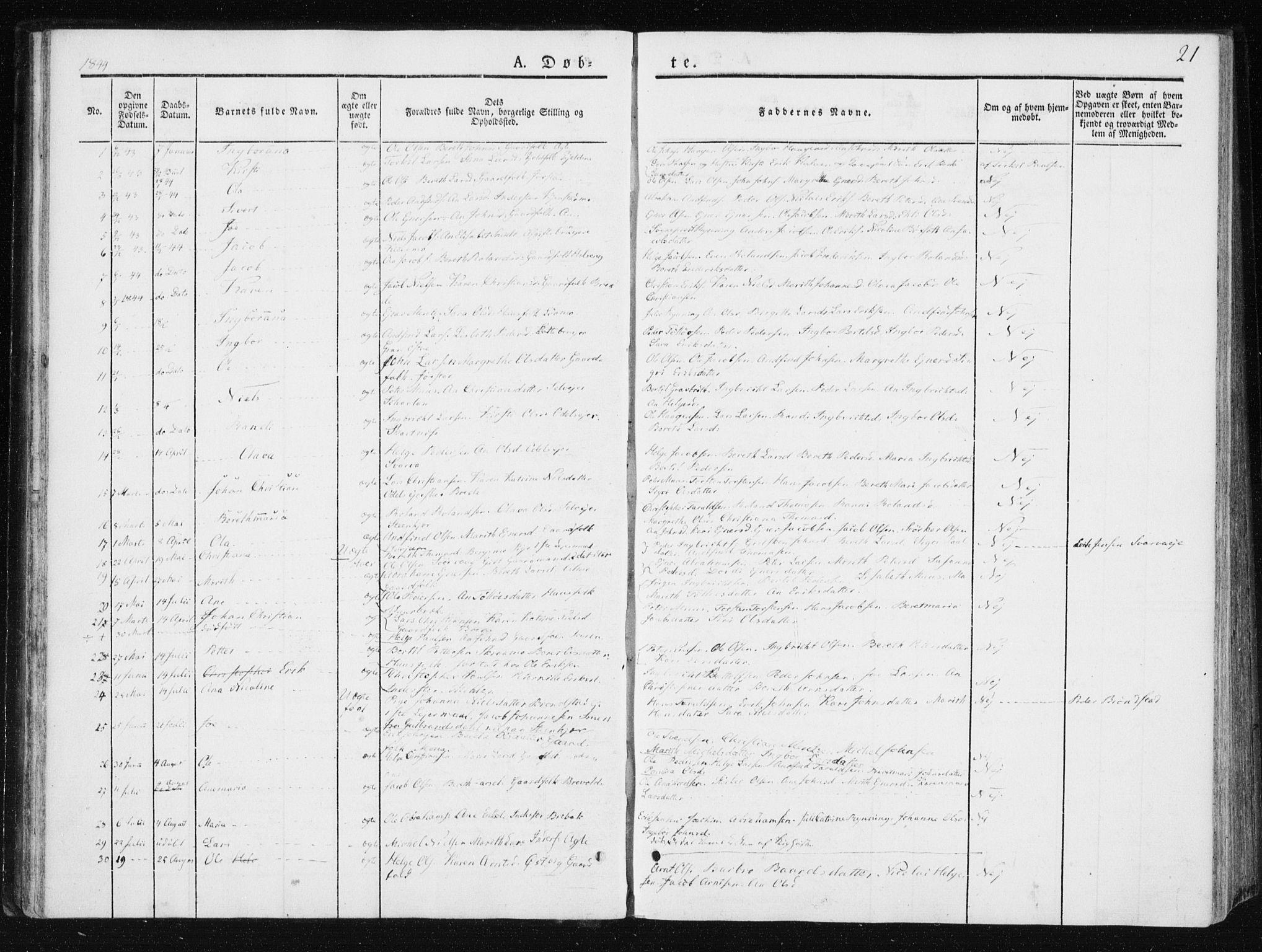 SAT, Ministerialprotokoller, klokkerbøker og fødselsregistre - Nord-Trøndelag, 749/L0470: Ministerialbok nr. 749A04, 1834-1853, s. 21