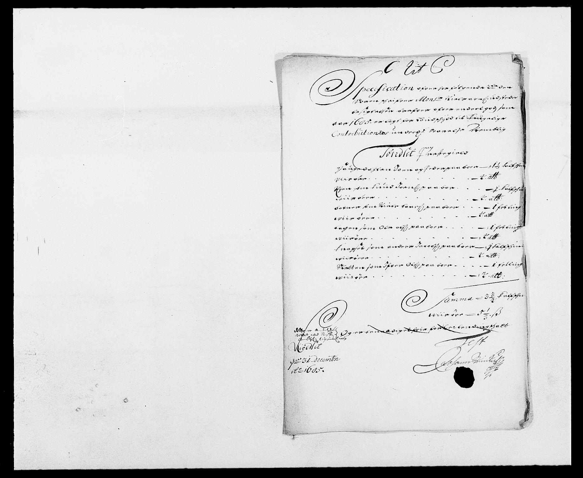 RA, Rentekammeret inntil 1814, Reviderte regnskaper, Fogderegnskap, R13/L0822: Fogderegnskap Solør, Odal og Østerdal, 1685, s. 160