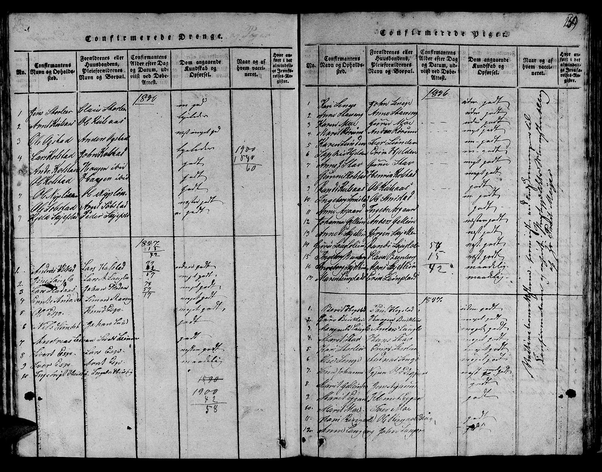 SAT, Ministerialprotokoller, klokkerbøker og fødselsregistre - Sør-Trøndelag, 613/L0393: Klokkerbok nr. 613C01, 1816-1886, s. 259