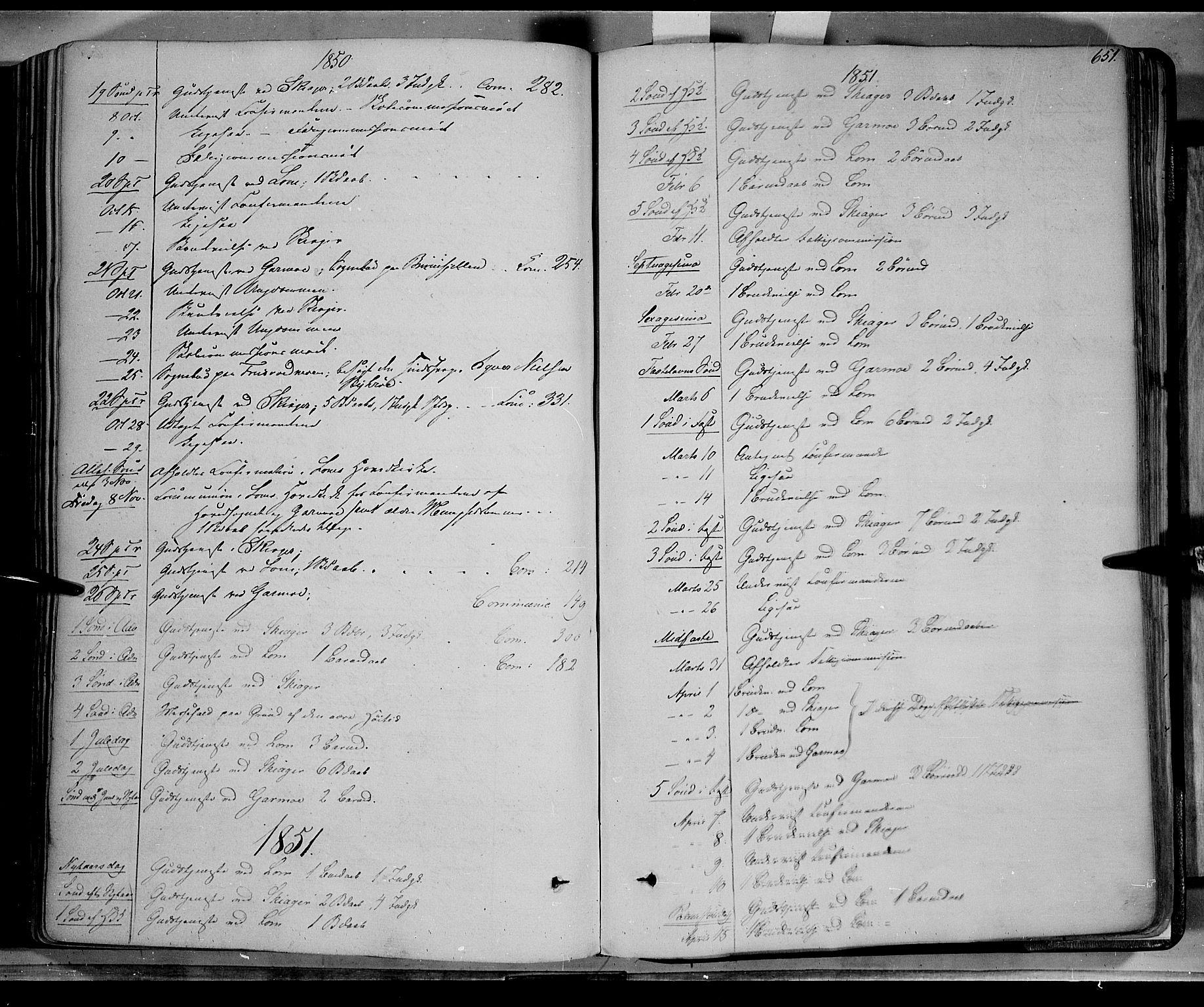 SAH, Lom prestekontor, K/L0006: Ministerialbok nr. 6B, 1837-1863, s. 651