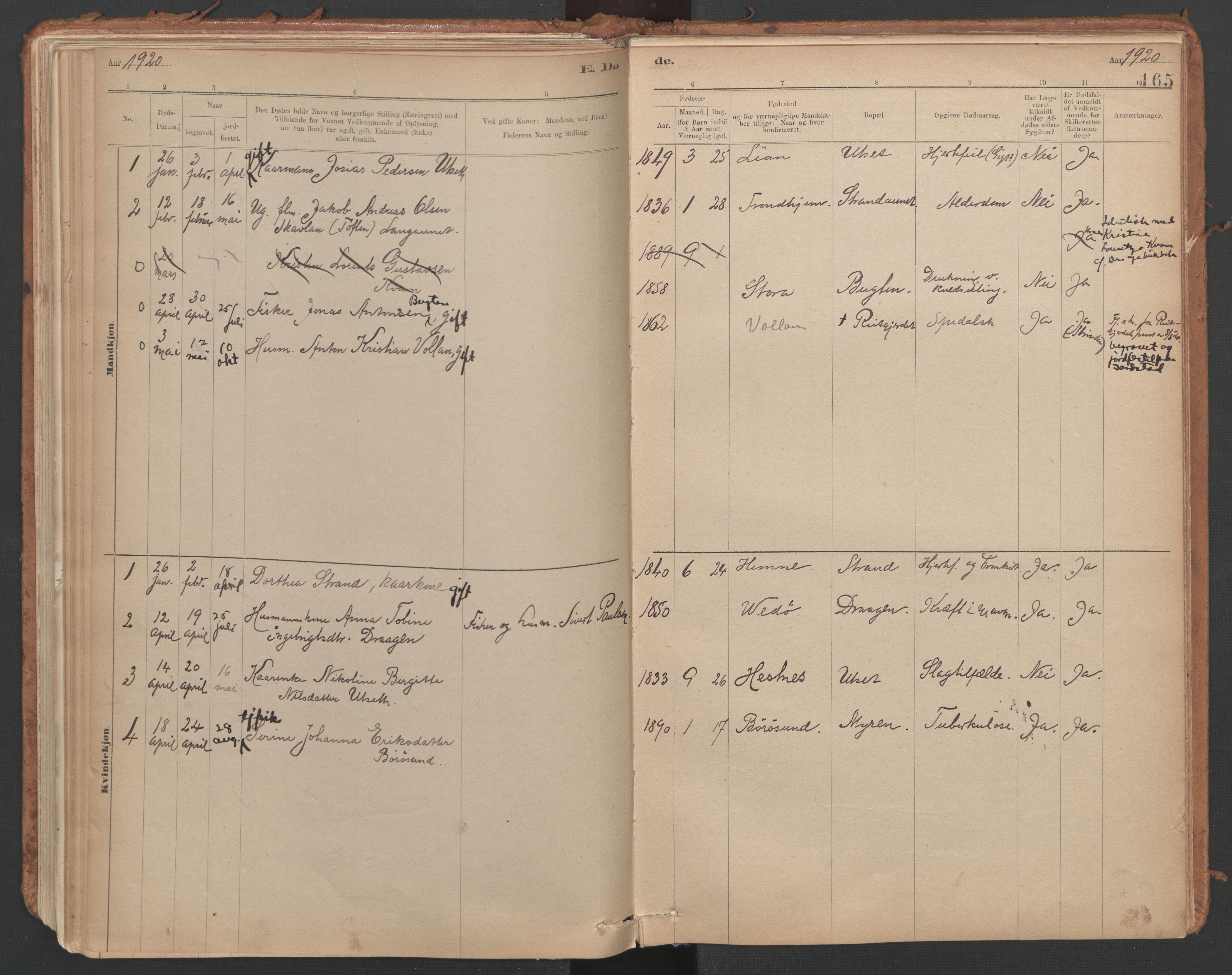 SAT, Ministerialprotokoller, klokkerbøker og fødselsregistre - Sør-Trøndelag, 639/L0572: Ministerialbok nr. 639A01, 1890-1920, s. 165