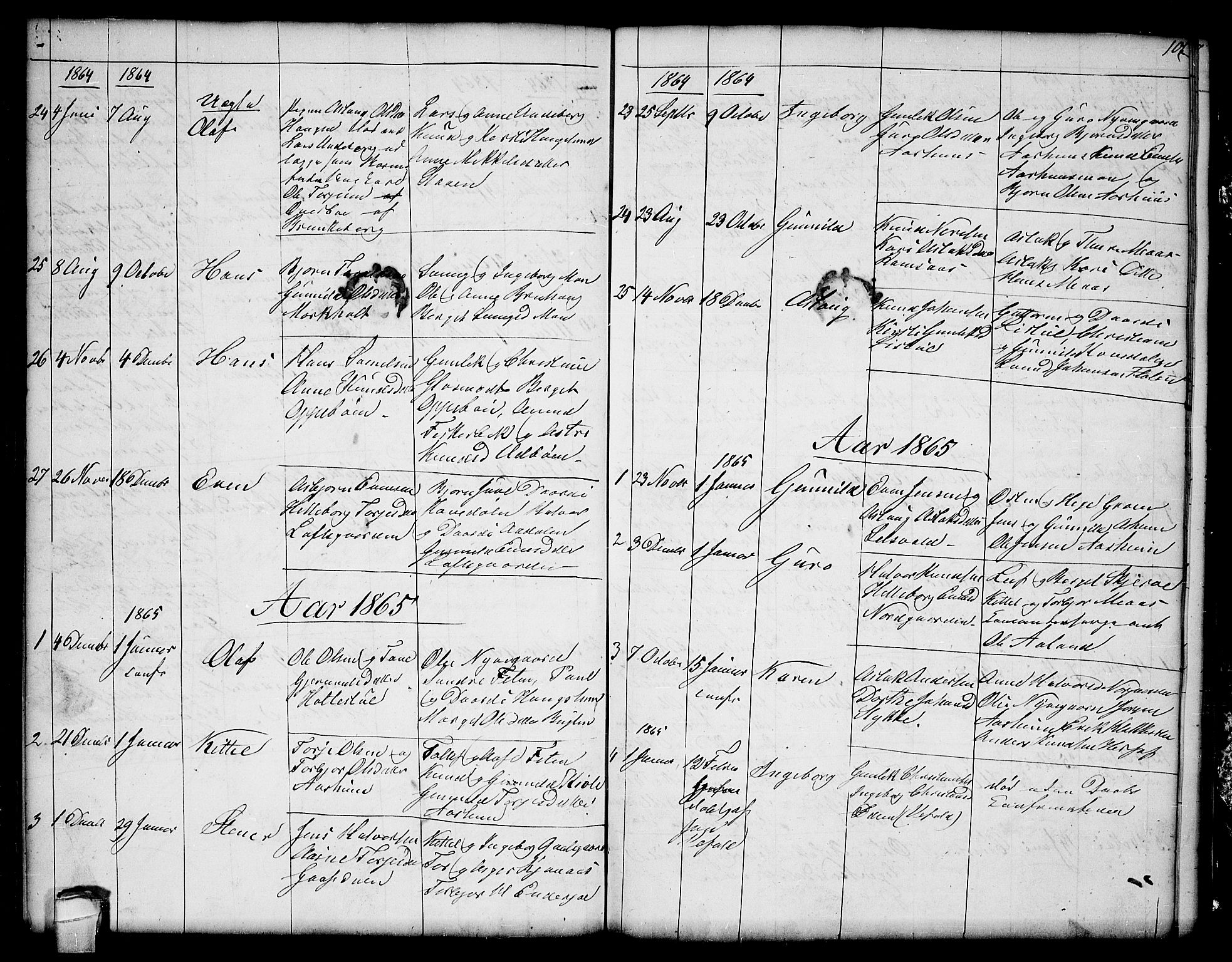 SAKO, Seljord kirkebøker, G/Ga/L0002: Klokkerbok nr. I 2, 1838-1866, s. 101