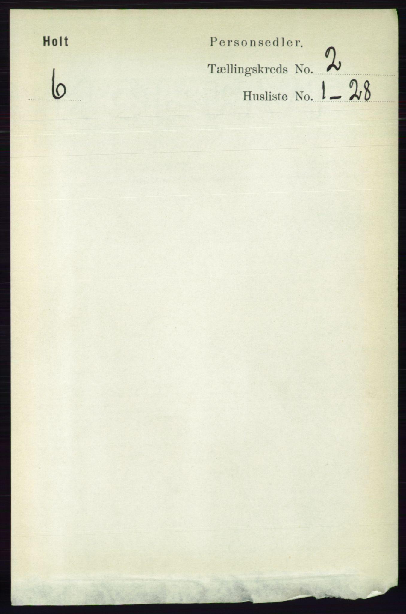 RA, Folketelling 1891 for 0914 Holt herred, 1891, s. 667