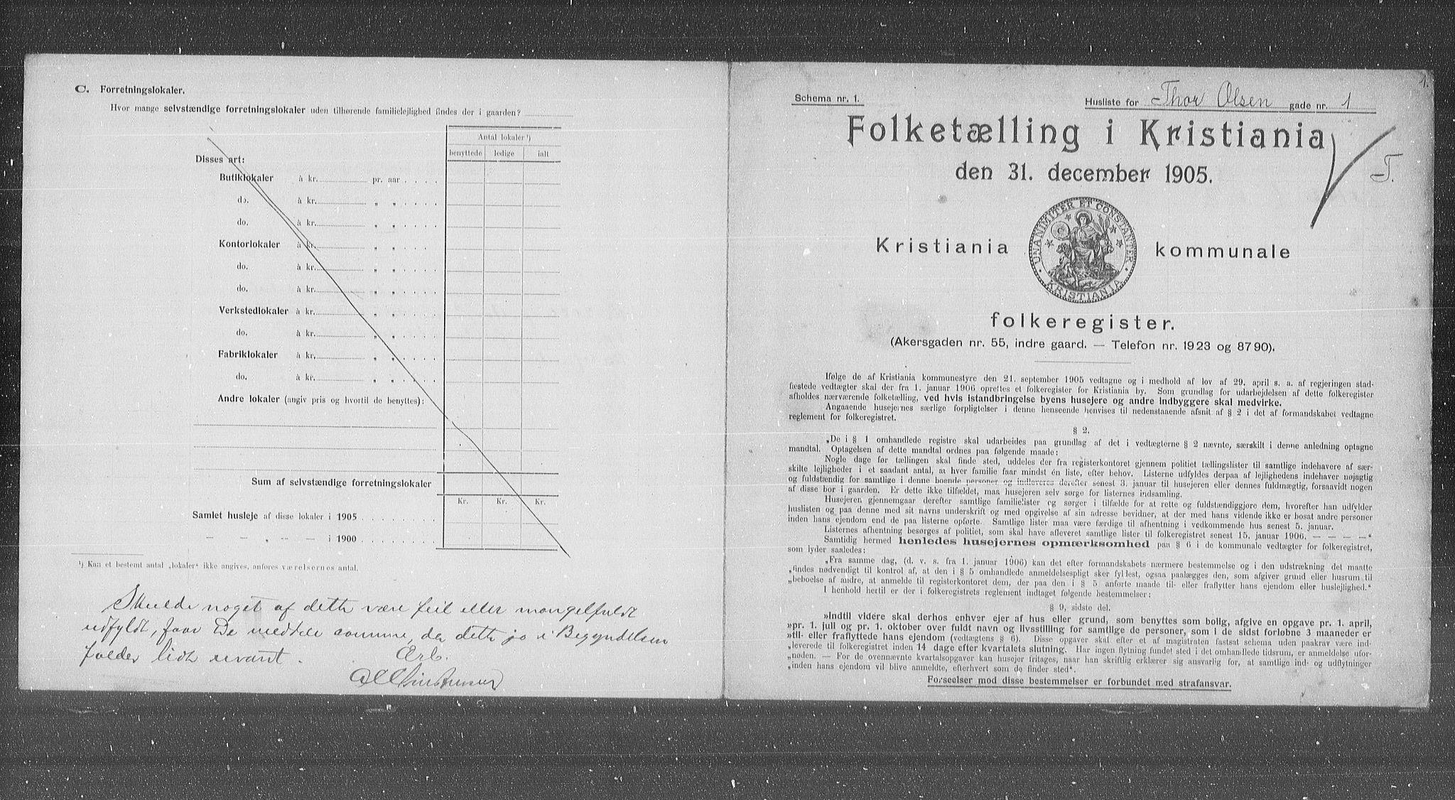 OBA, Kommunal folketelling 1905 for Kristiania kjøpstad, 1905, s. 57200