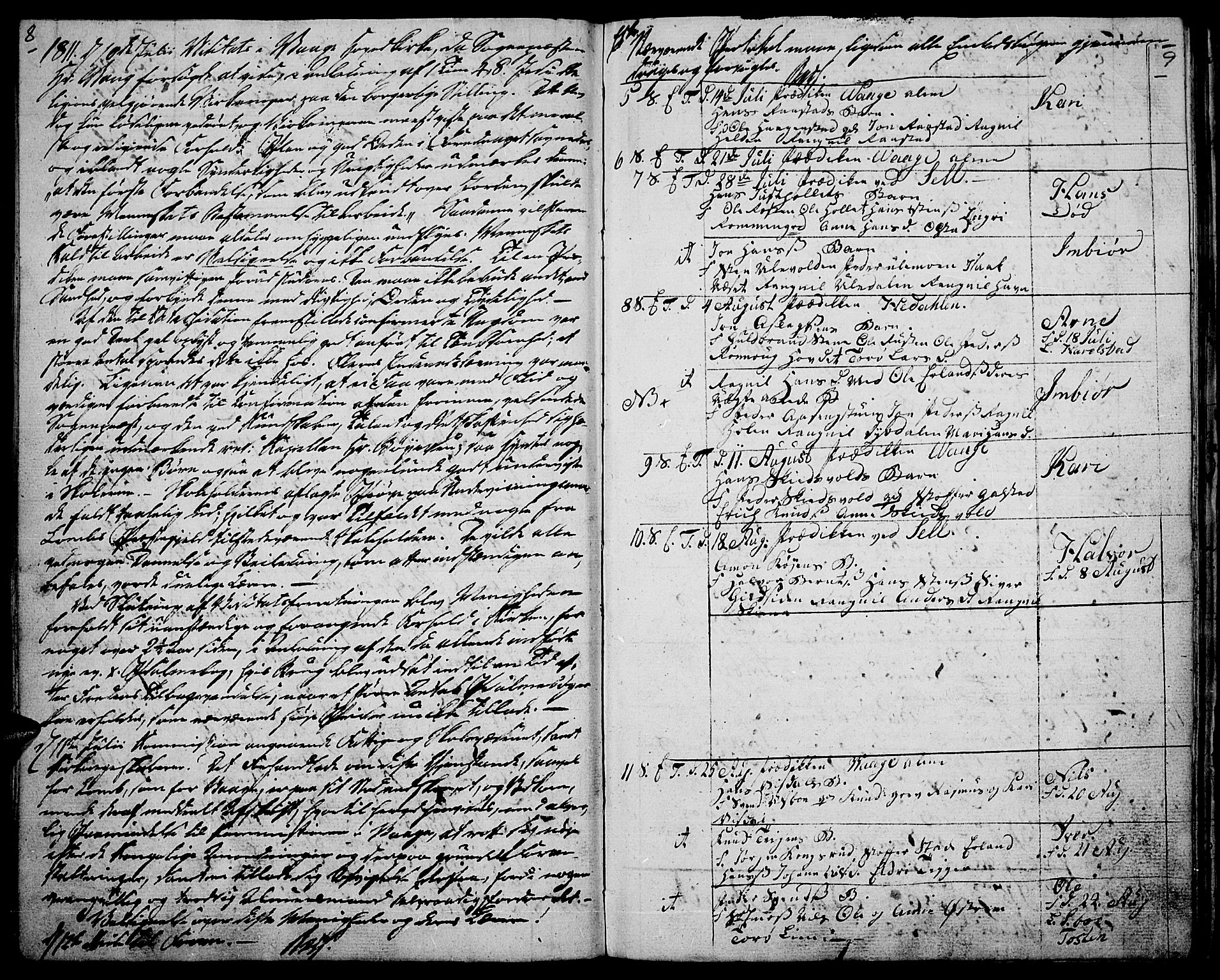 SAH, Vågå prestekontor, Ministerialbok nr. 2, 1810-1815, s. 8-9