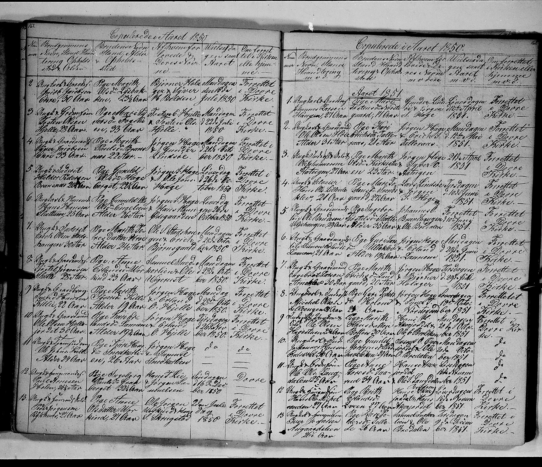 SAH, Lesja prestekontor, Klokkerbok nr. 3, 1842-1862, s. 162-163
