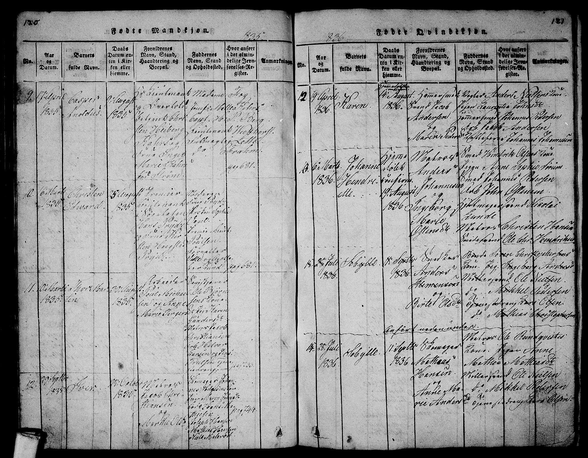SAKO, Larvik kirkebøker, G/Gb/L0001: Klokkerbok nr. II 1, 1818-1843, s. 120-121
