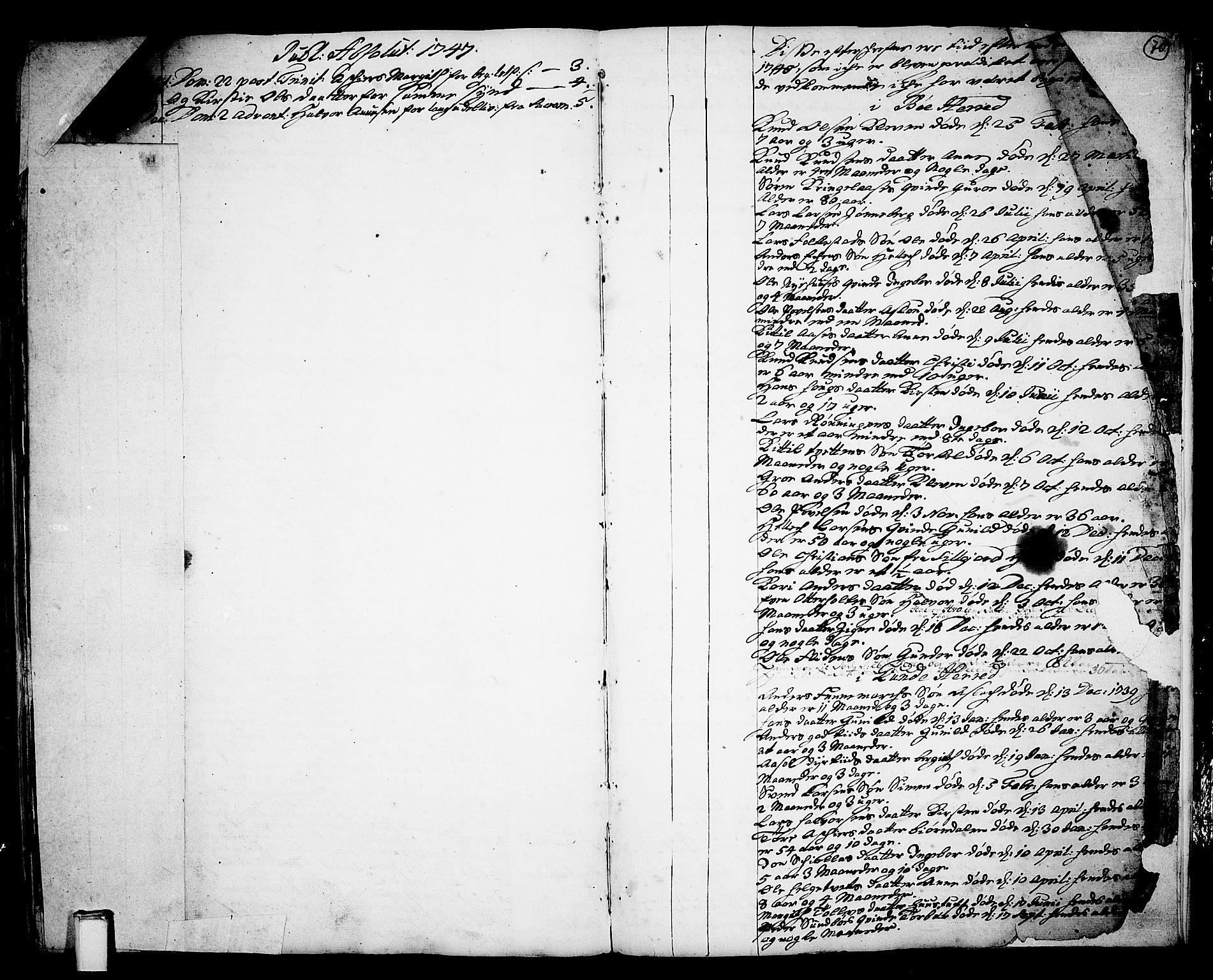 SAKO, Bø kirkebøker, F/Fa/L0003: Ministerialbok nr. 3, 1733-1748, s. 70