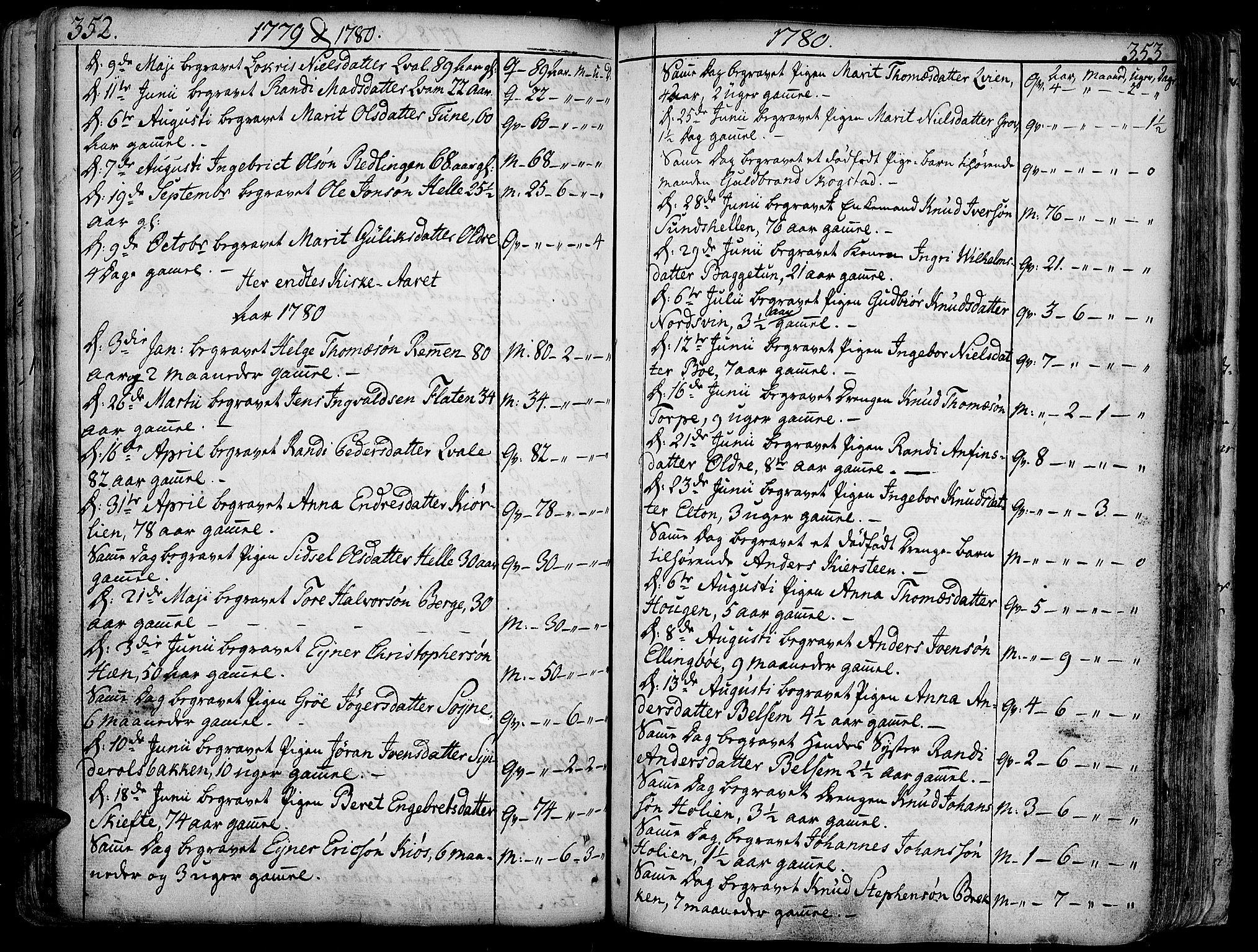 SAH, Vang prestekontor, Valdres, Ministerialbok nr. 1, 1730-1796, s. 352-353