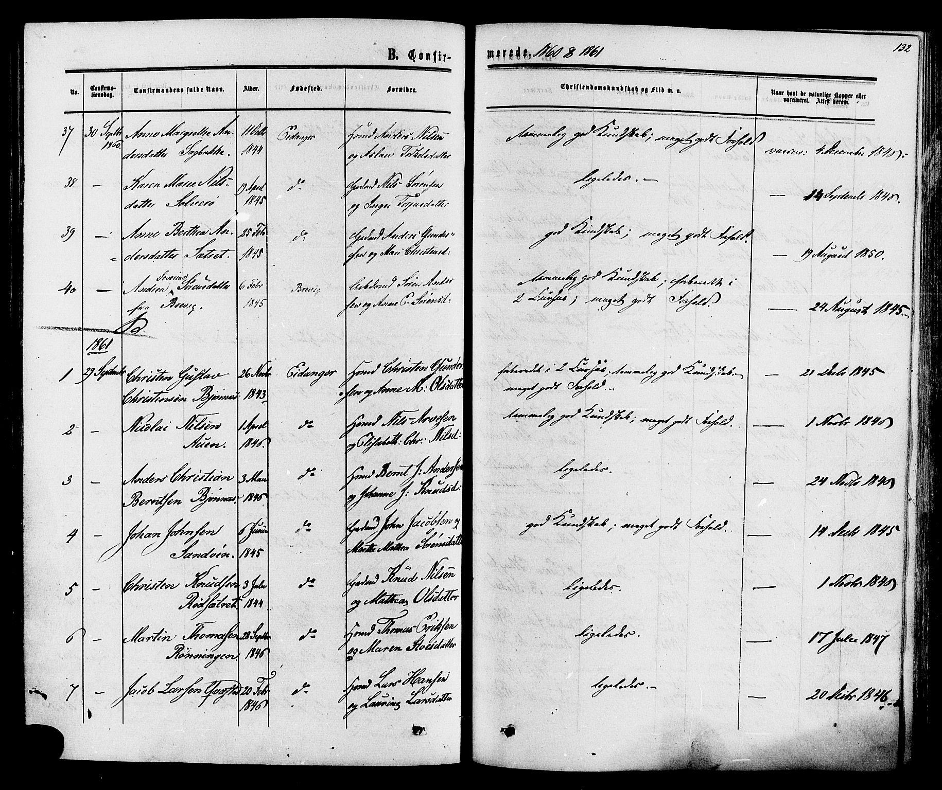 SAKO, Eidanger kirkebøker, F/Fa/L0010: Ministerialbok nr. 10, 1859-1874, s. 132