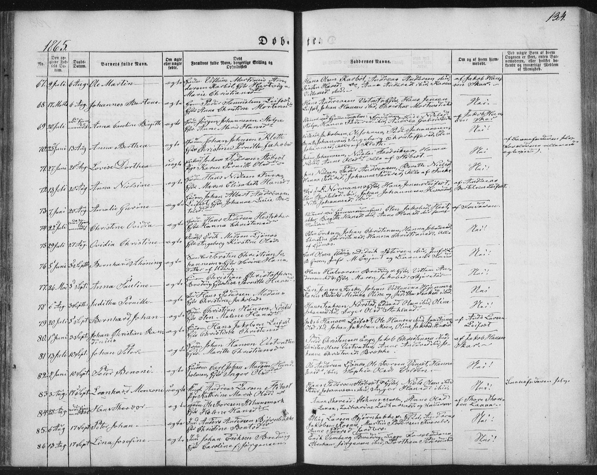 SAT, Ministerialprotokoller, klokkerbøker og fødselsregistre - Nordland, 852/L0738: Ministerialbok nr. 852A08, 1849-1865, s. 134