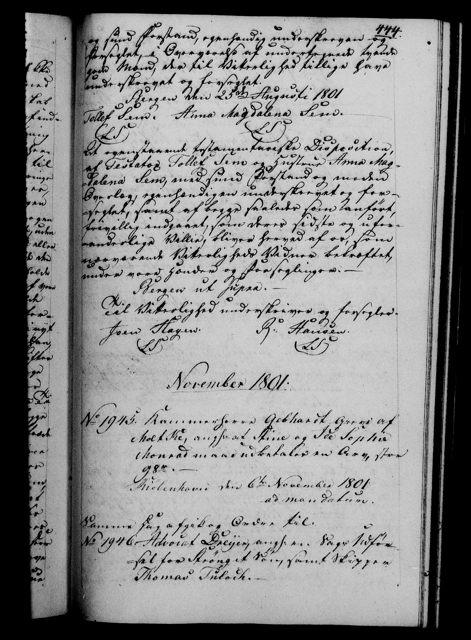 RA, Danske Kanselli 1800-1814, H/Hf/Hfb/Hfba/L0001: Registranter, 1800-1801, s. 444a
