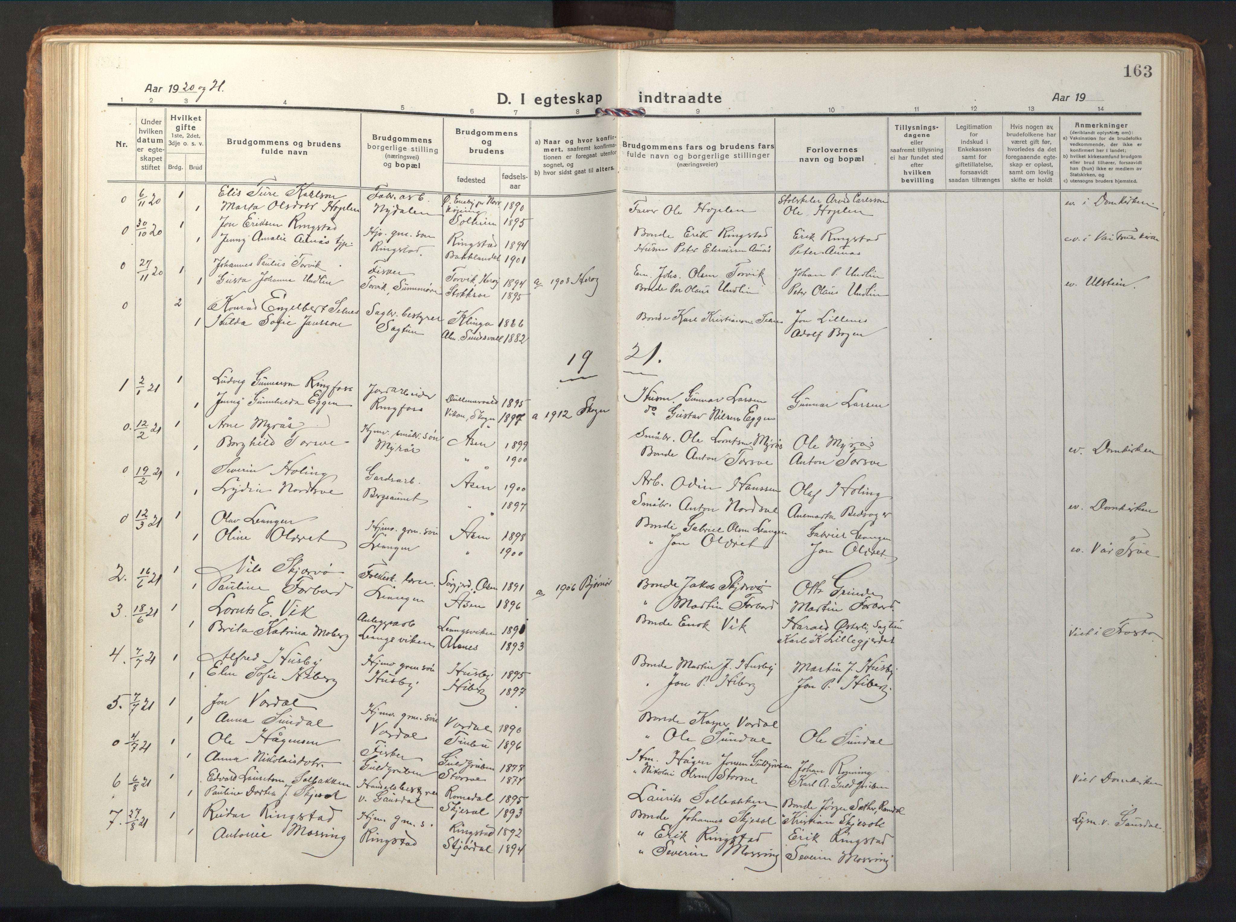 SAT, Ministerialprotokoller, klokkerbøker og fødselsregistre - Nord-Trøndelag, 714/L0136: Klokkerbok nr. 714C05, 1918-1957, s. 163