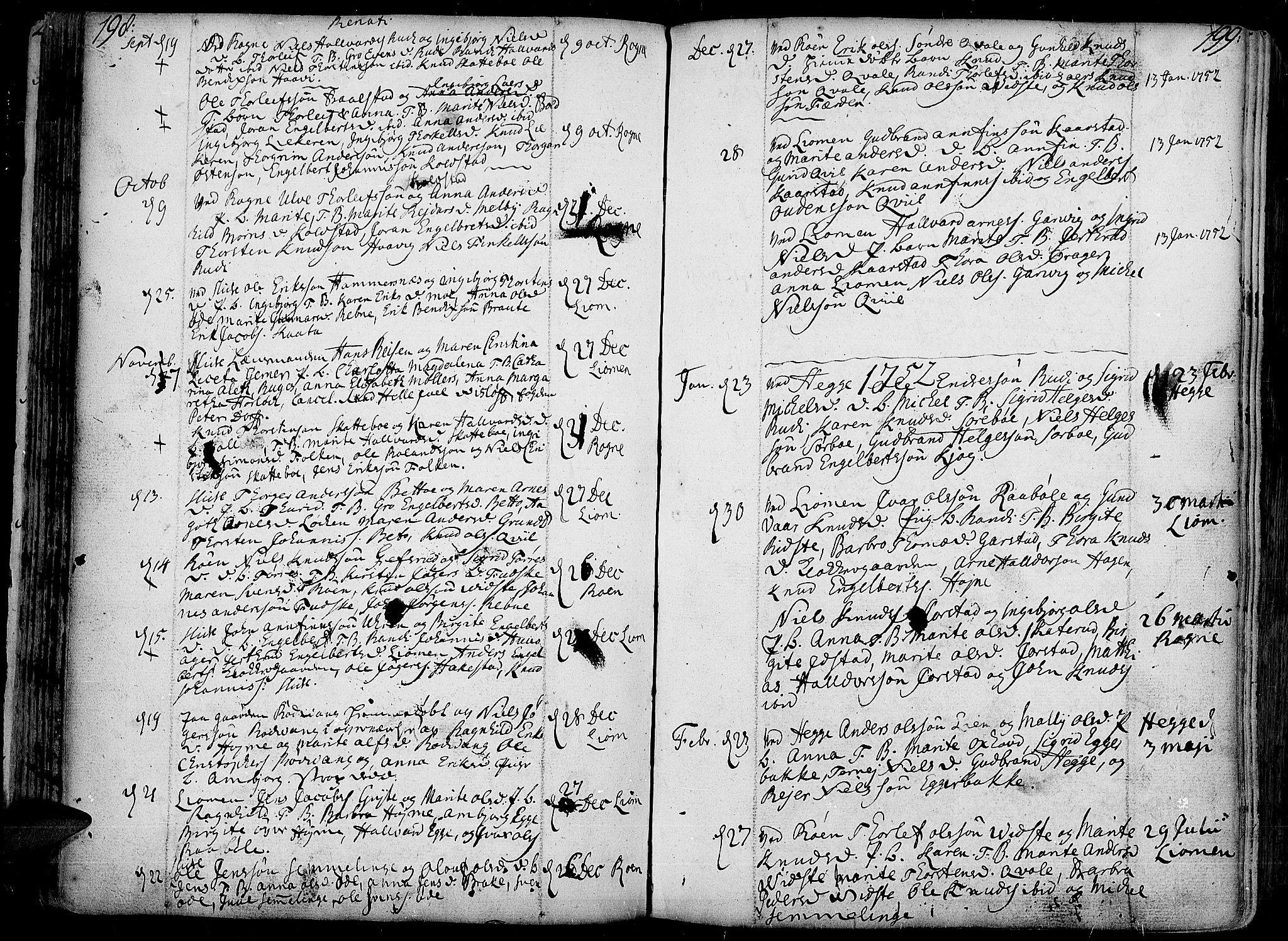 SAH, Slidre prestekontor, Ministerialbok nr. 1, 1724-1814, s. 198-199