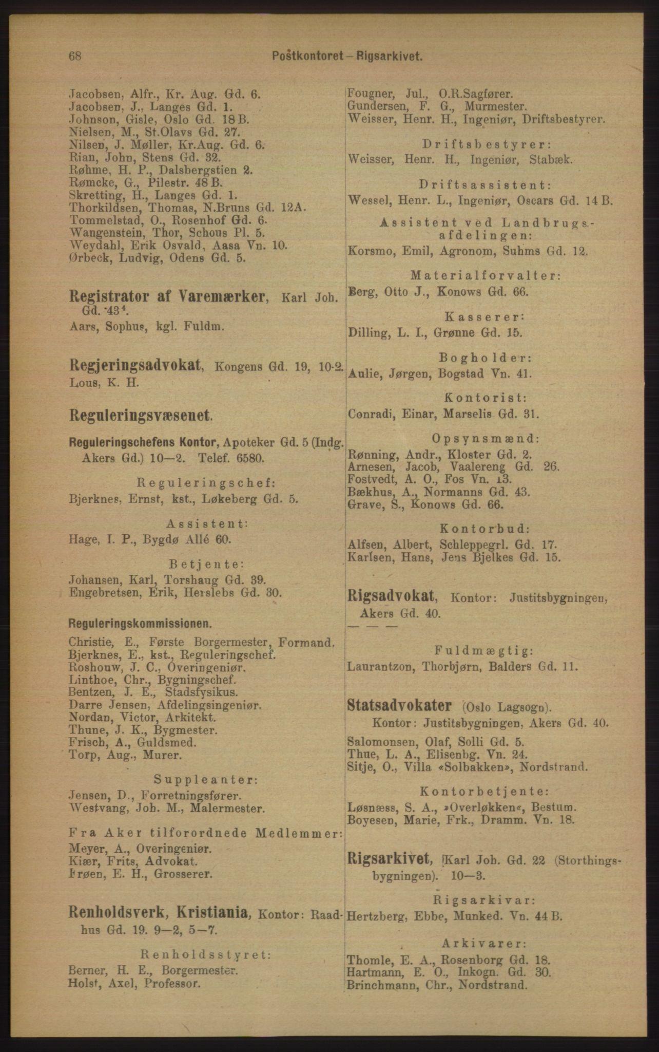 RA, Kristiania adressebok (publikasjon)*, 1906, s. 68