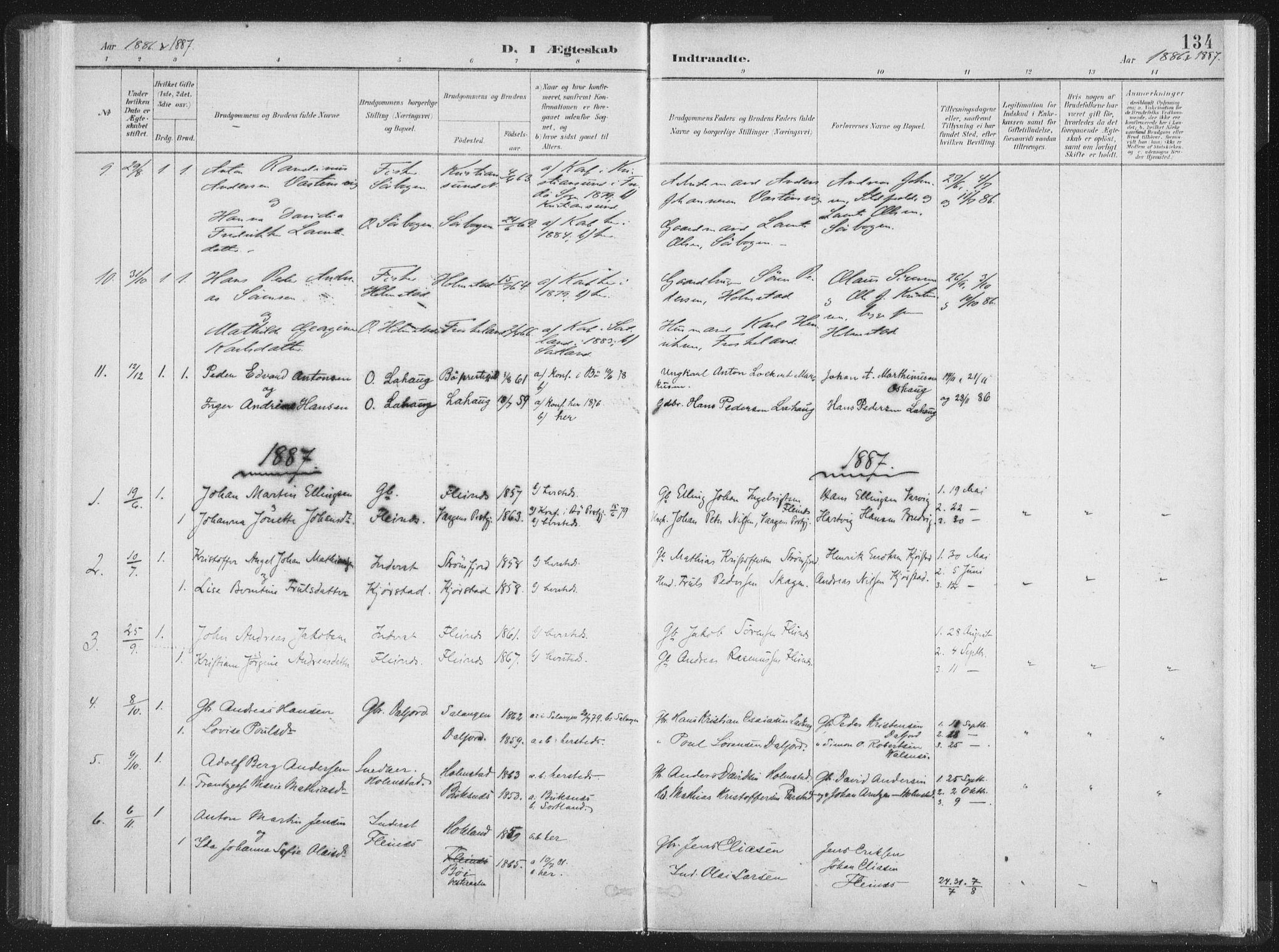 SAT, Ministerialprotokoller, klokkerbøker og fødselsregistre - Nordland, 890/L1286: Ministerialbok nr. 890A01, 1882-1902, s. 134