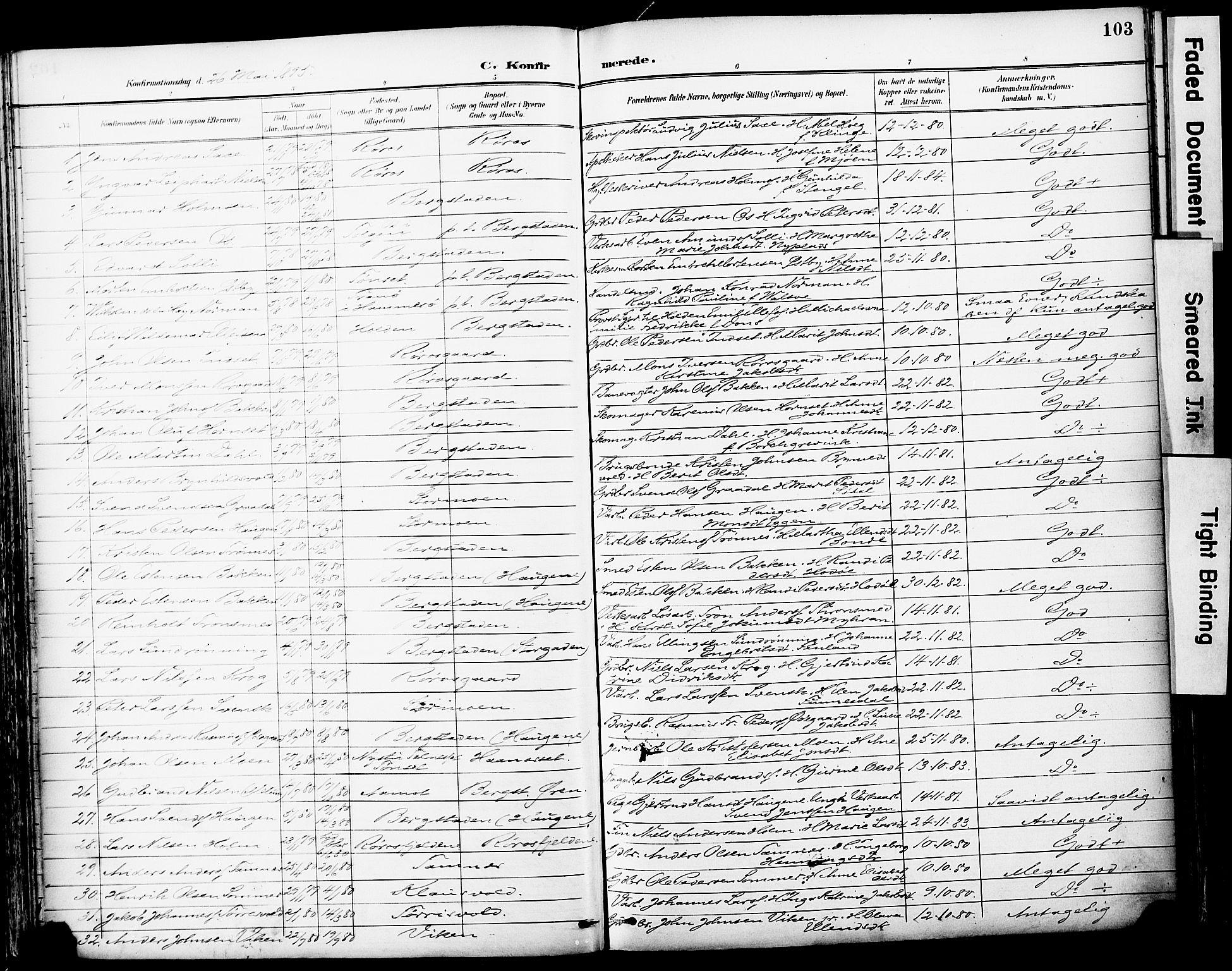 SAT, Ministerialprotokoller, klokkerbøker og fødselsregistre - Sør-Trøndelag, 681/L0935: Ministerialbok nr. 681A13, 1890-1898, s. 103