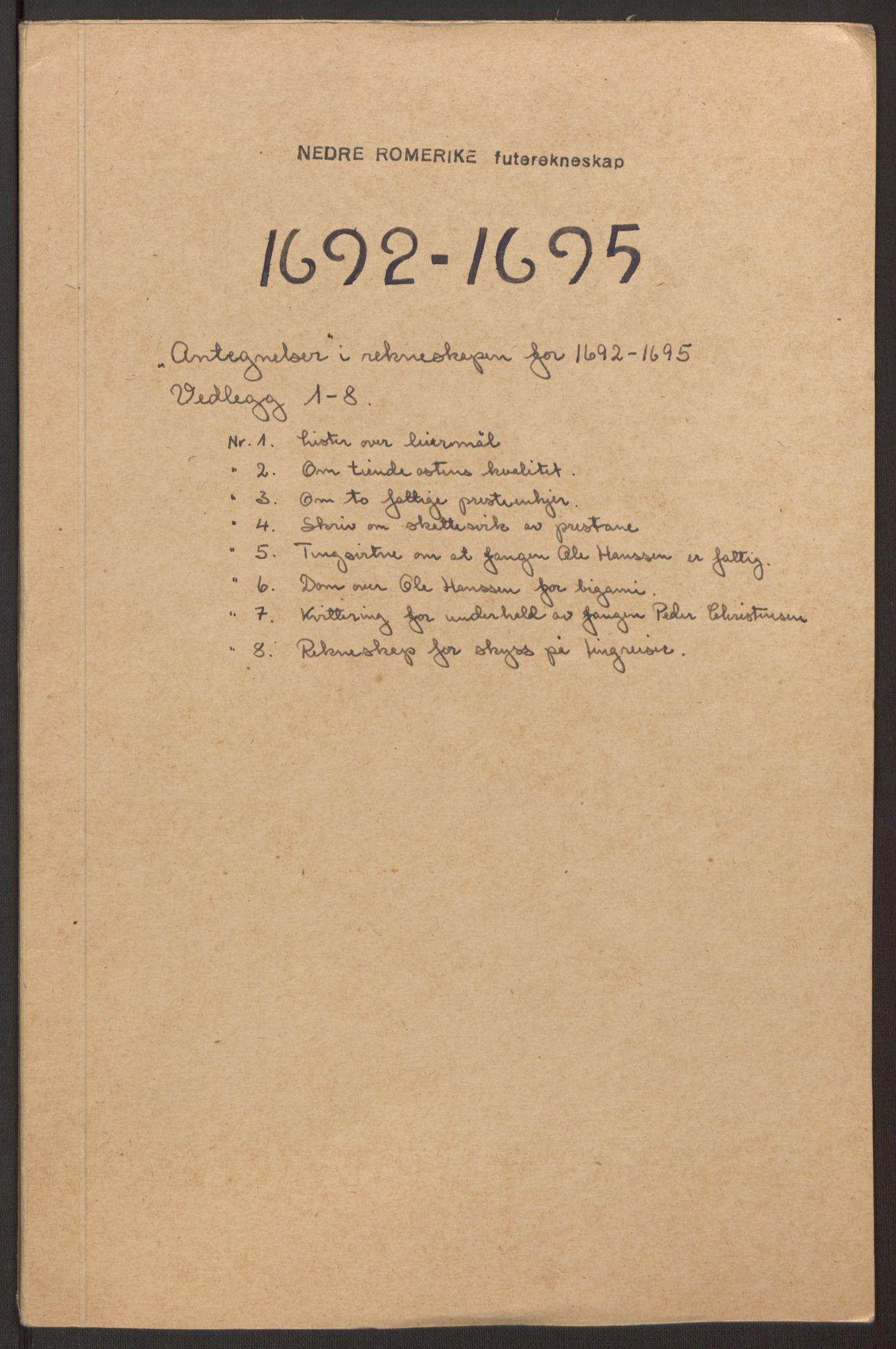 RA, Rentekammeret inntil 1814, Reviderte regnskaper, Fogderegnskap, R11/L0579: Fogderegnskap Nedre Romerike, 1694-1695, s. 426