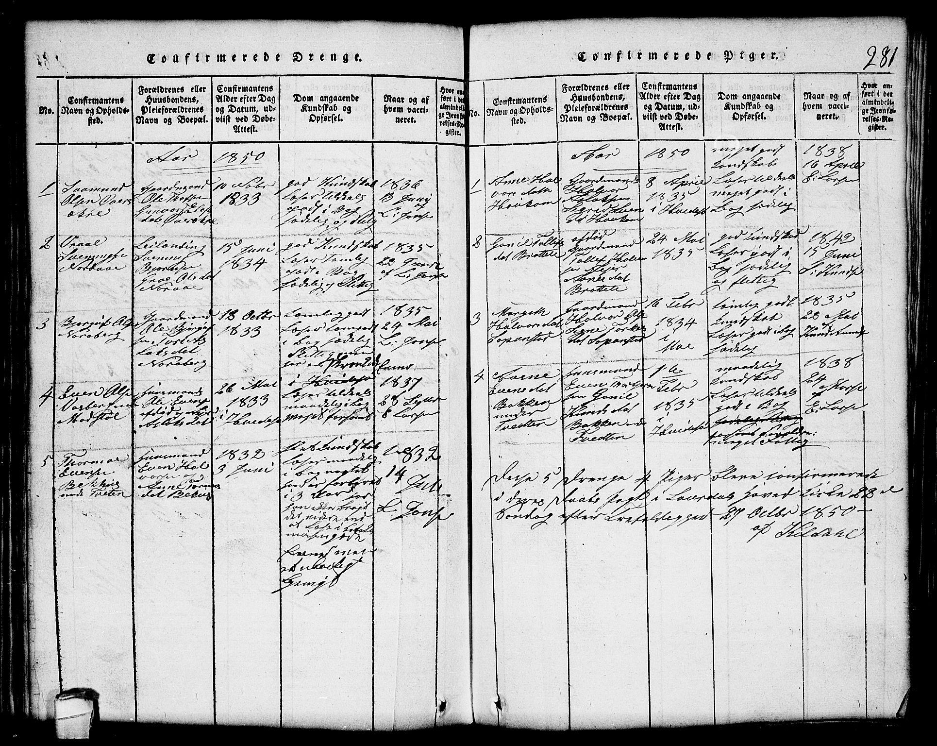 SAKO, Lårdal kirkebøker, G/Gc/L0001: Klokkerbok nr. III 1, 1815-1854, s. 281