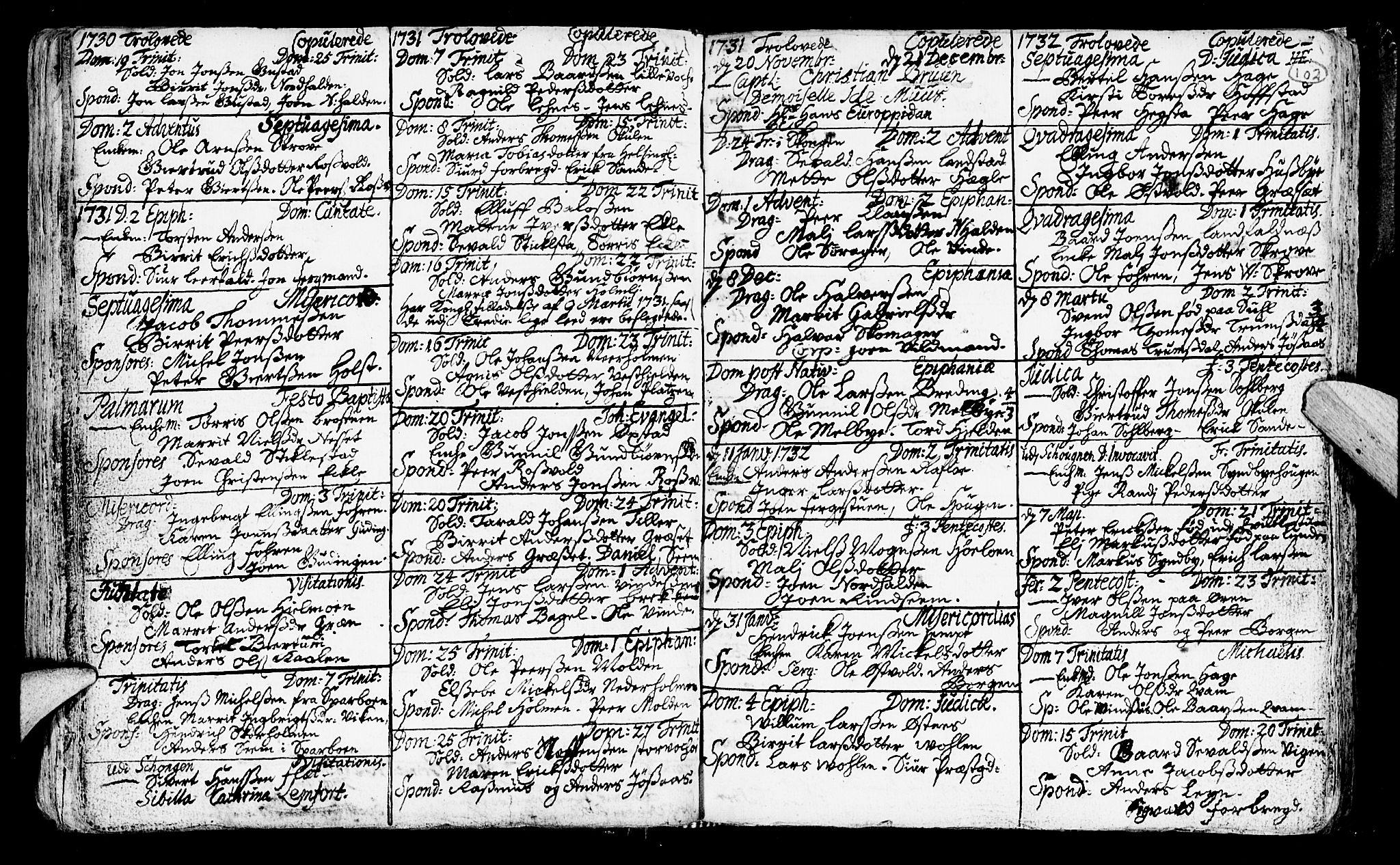 SAT, Ministerialprotokoller, klokkerbøker og fødselsregistre - Nord-Trøndelag, 723/L0230: Ministerialbok nr. 723A01, 1705-1747, s. 102