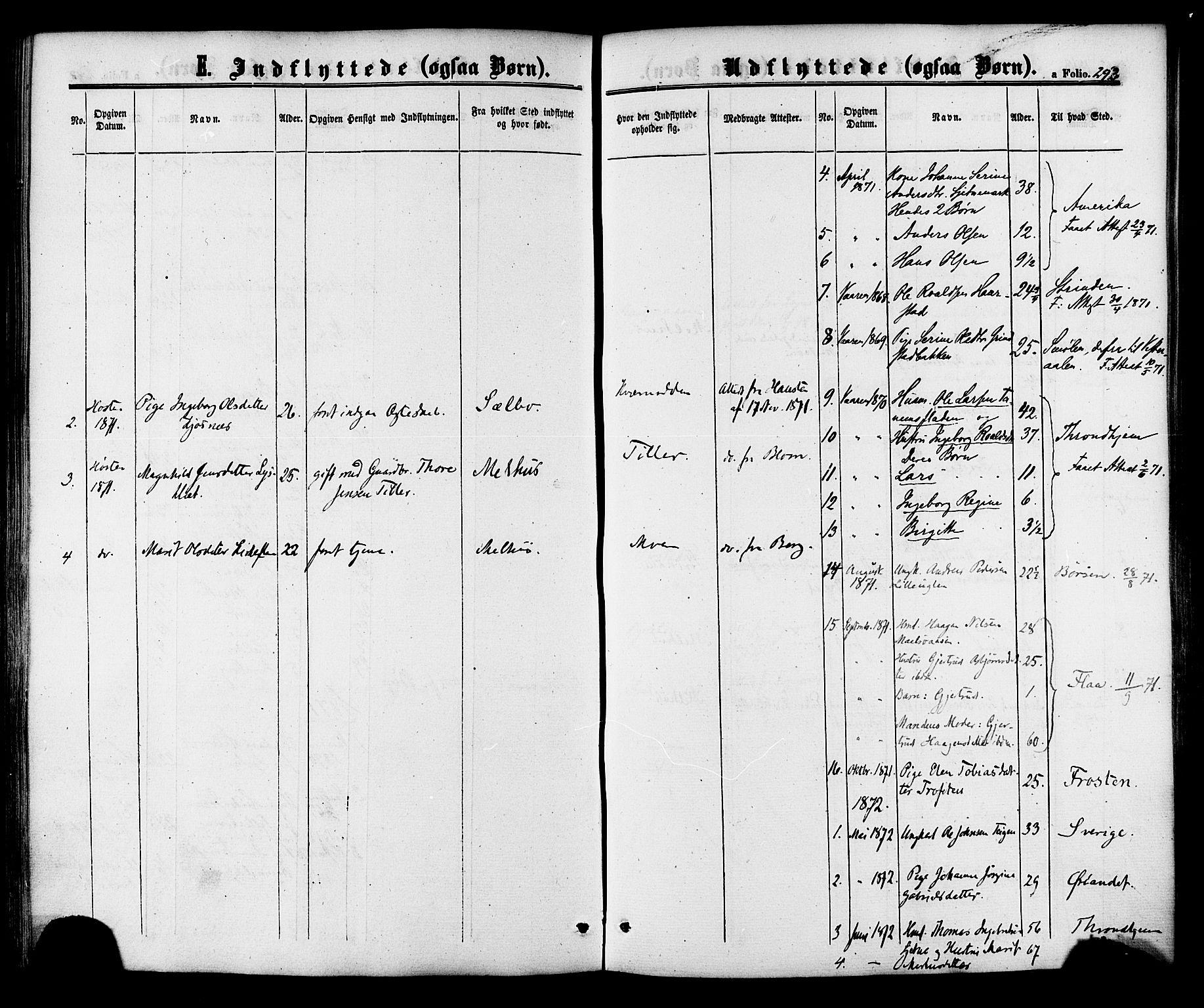 SAT, Ministerialprotokoller, klokkerbøker og fødselsregistre - Sør-Trøndelag, 618/L0442: Ministerialbok nr. 618A06 /1, 1863-1879, s. 293
