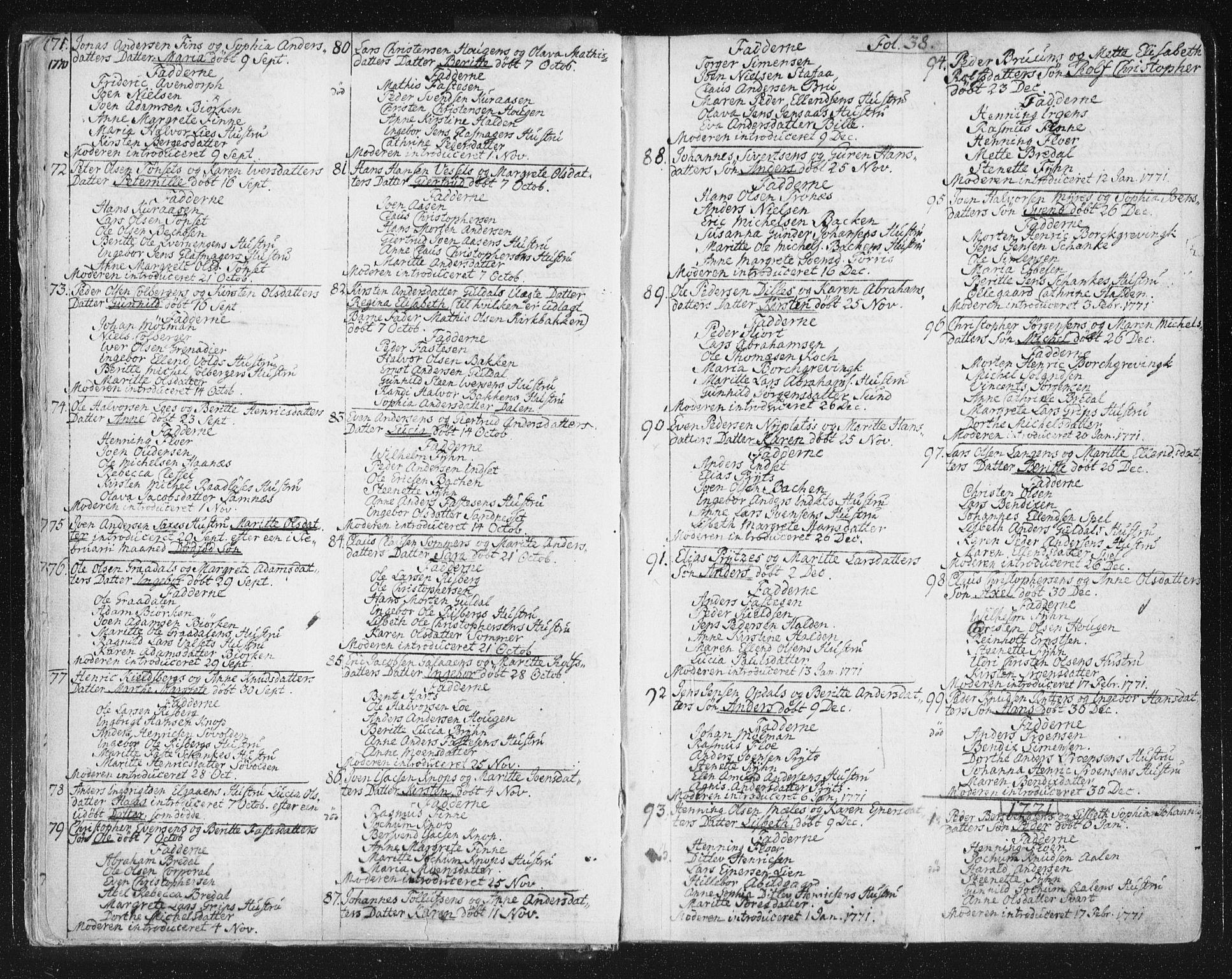 SAT, Ministerialprotokoller, klokkerbøker og fødselsregistre - Sør-Trøndelag, 681/L0926: Ministerialbok nr. 681A04, 1767-1797, s. 38