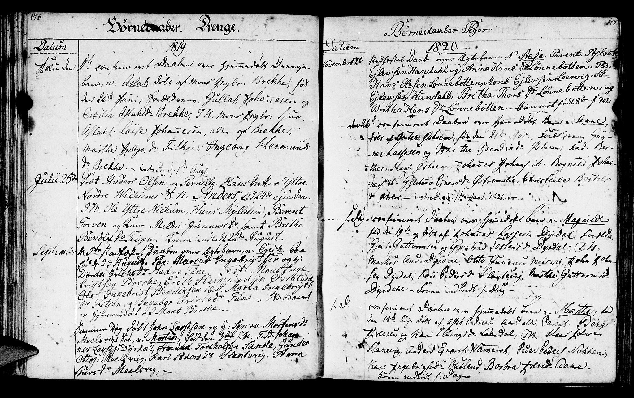 SAB, Lavik sokneprestembete, Ministerialbok nr. A 1, 1809-1822, s. 176-177
